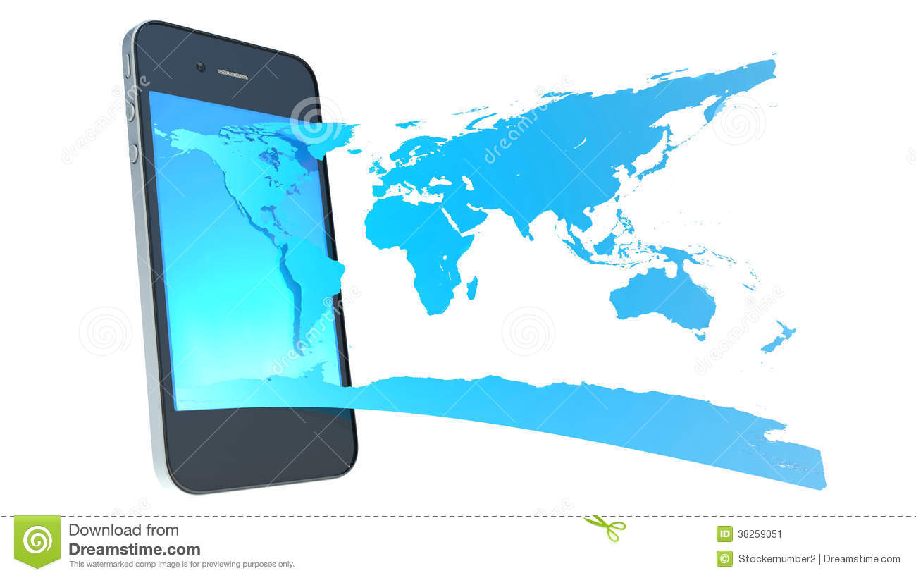 Mobile phone and world map stock illustration illustration of mobile phone and world map royalty free stock photo gumiabroncs