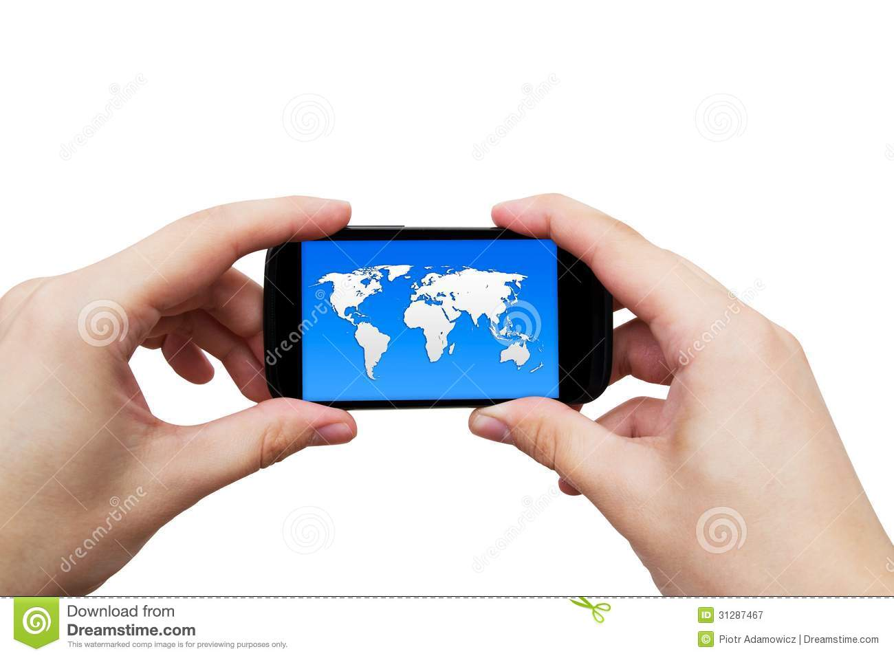 Mobile phone with world map on display stock illustration mobile phone with world map on display gumiabroncs Images