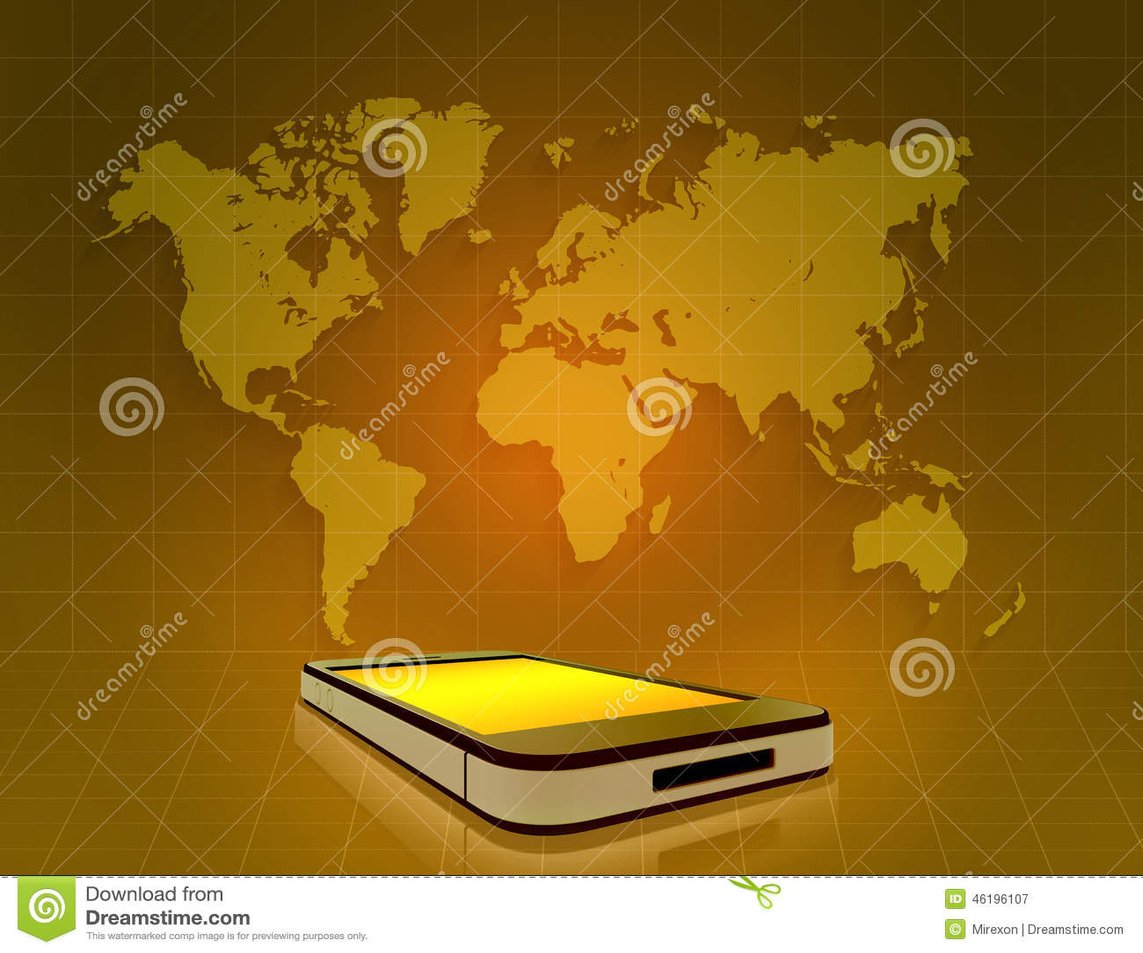 Mobile phone and world map on grid orange stock illustration mobile phone and world map on grid orange royalty free illustration download publicscrutiny Choice Image