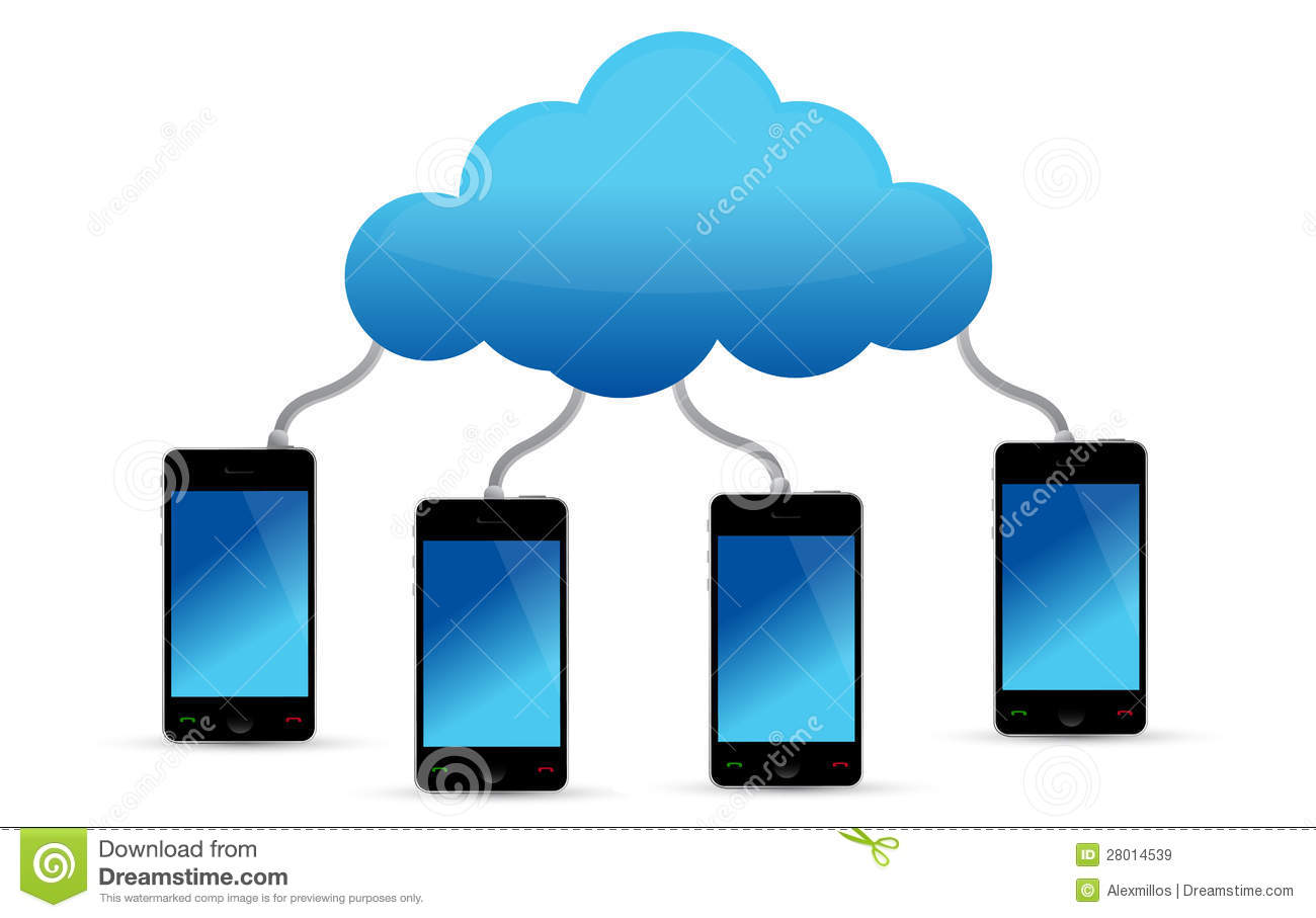Mobile Phones Connected To Cloud Stock Illustration