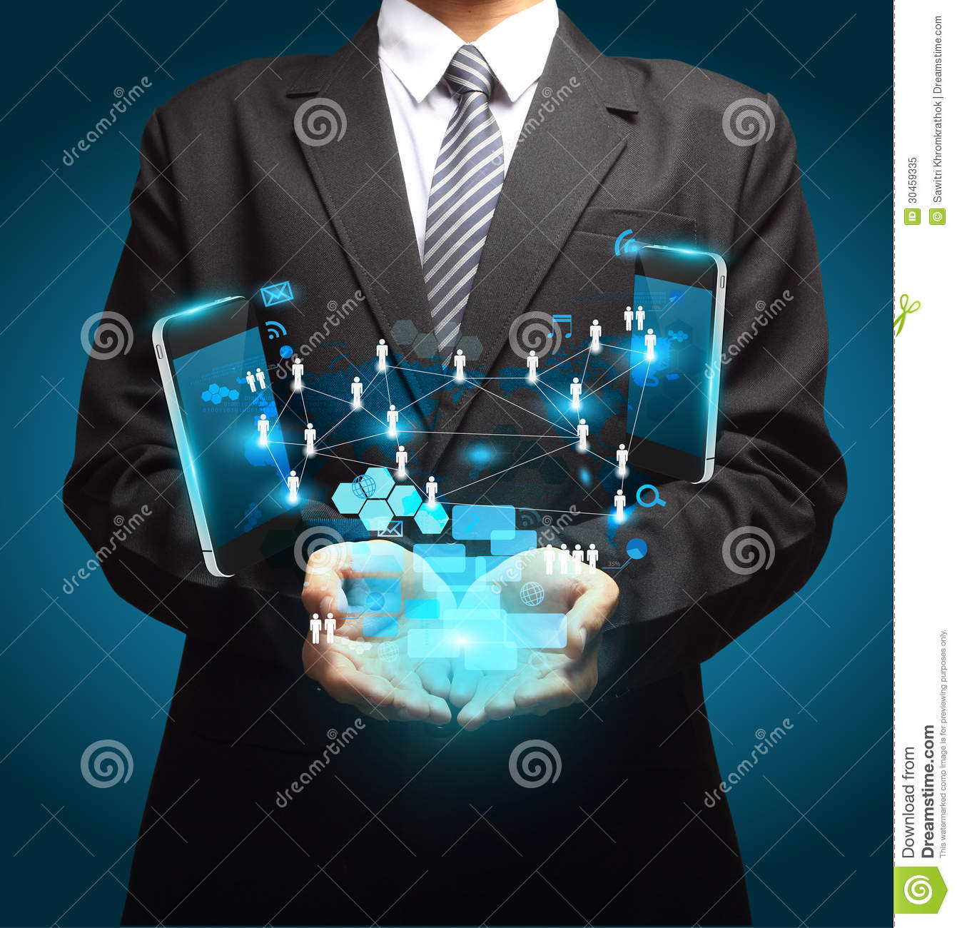 Mobile Phones Technology Business In Hand Stock