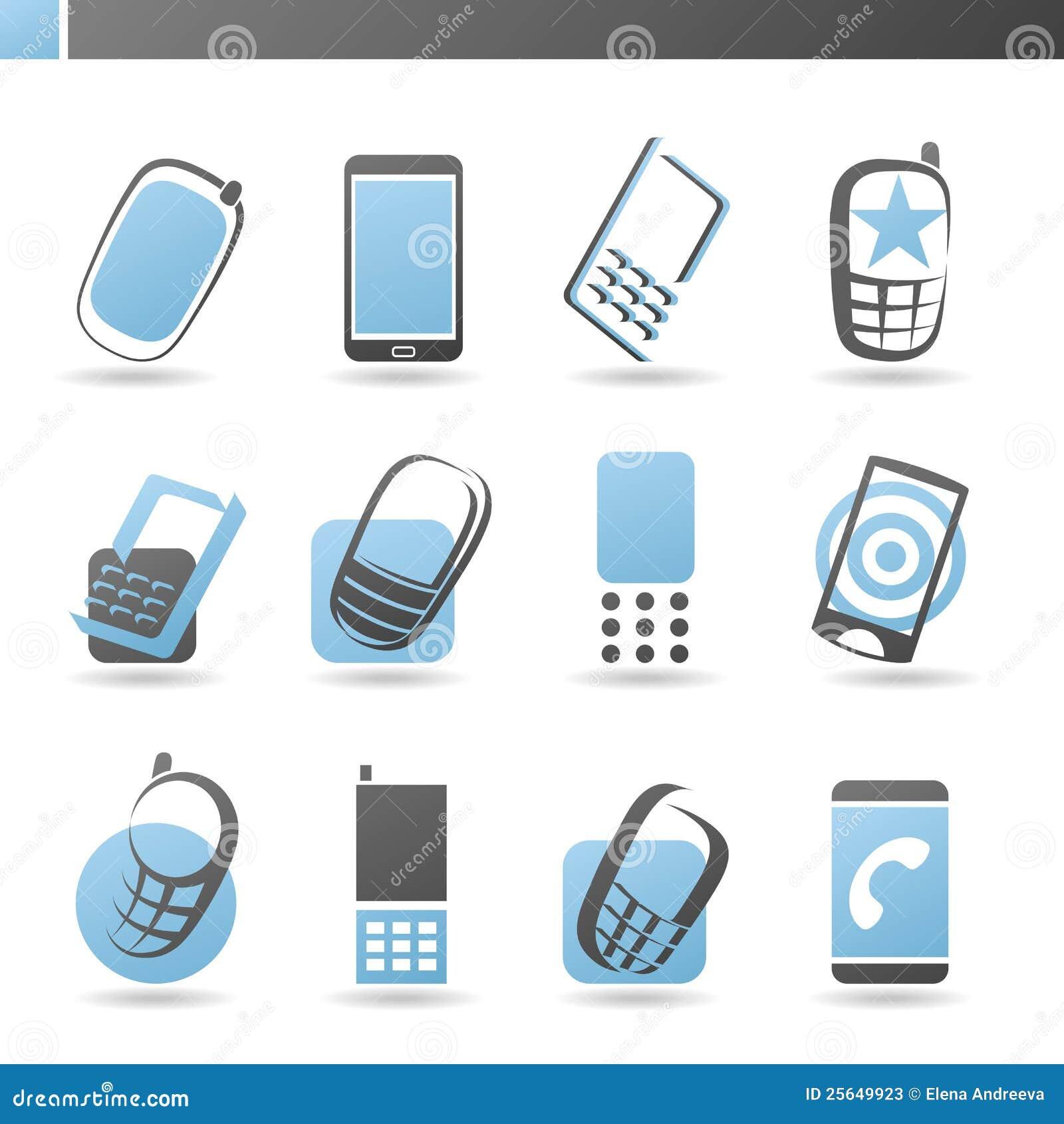 Mobile phones vector logo template set stock photos for Mobile logo