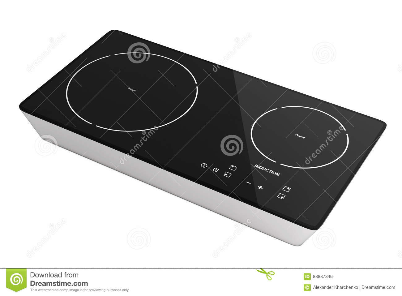 Mobile Portable Induction Cooktop Stove. 3d Rendering Stock ...