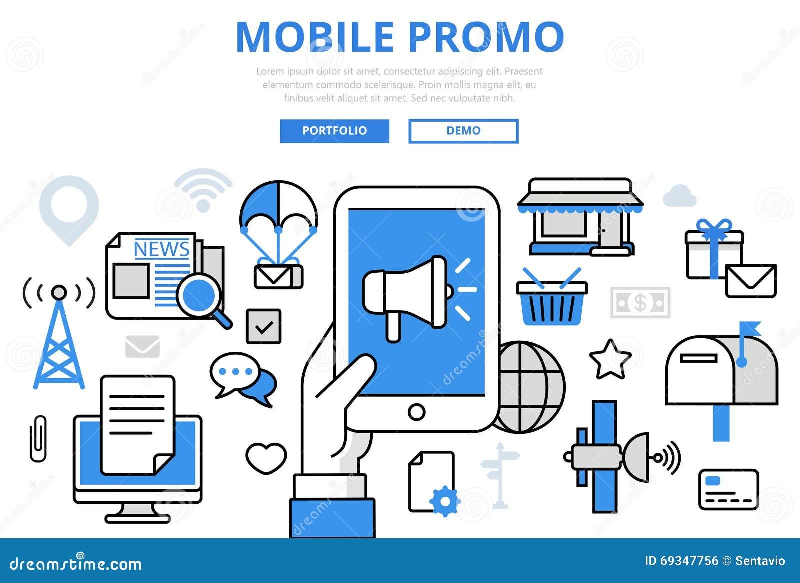 mobile promo digital marketing concept flat line art. Black Bedroom Furniture Sets. Home Design Ideas