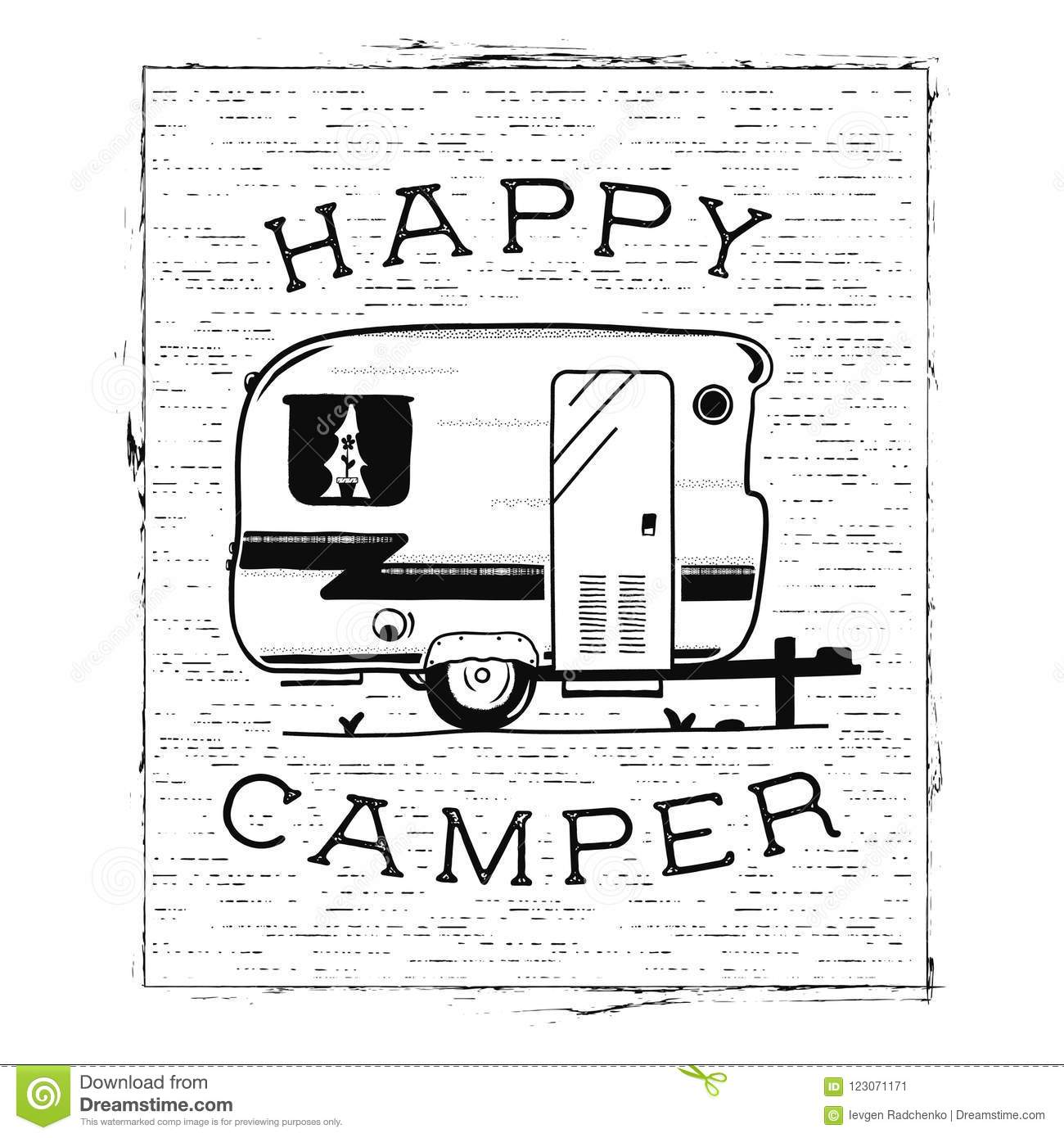 Download Mobile Recreation Happy Camper Trailer In Sketch Silhouette Style Vintage Hand Drawn Camp
