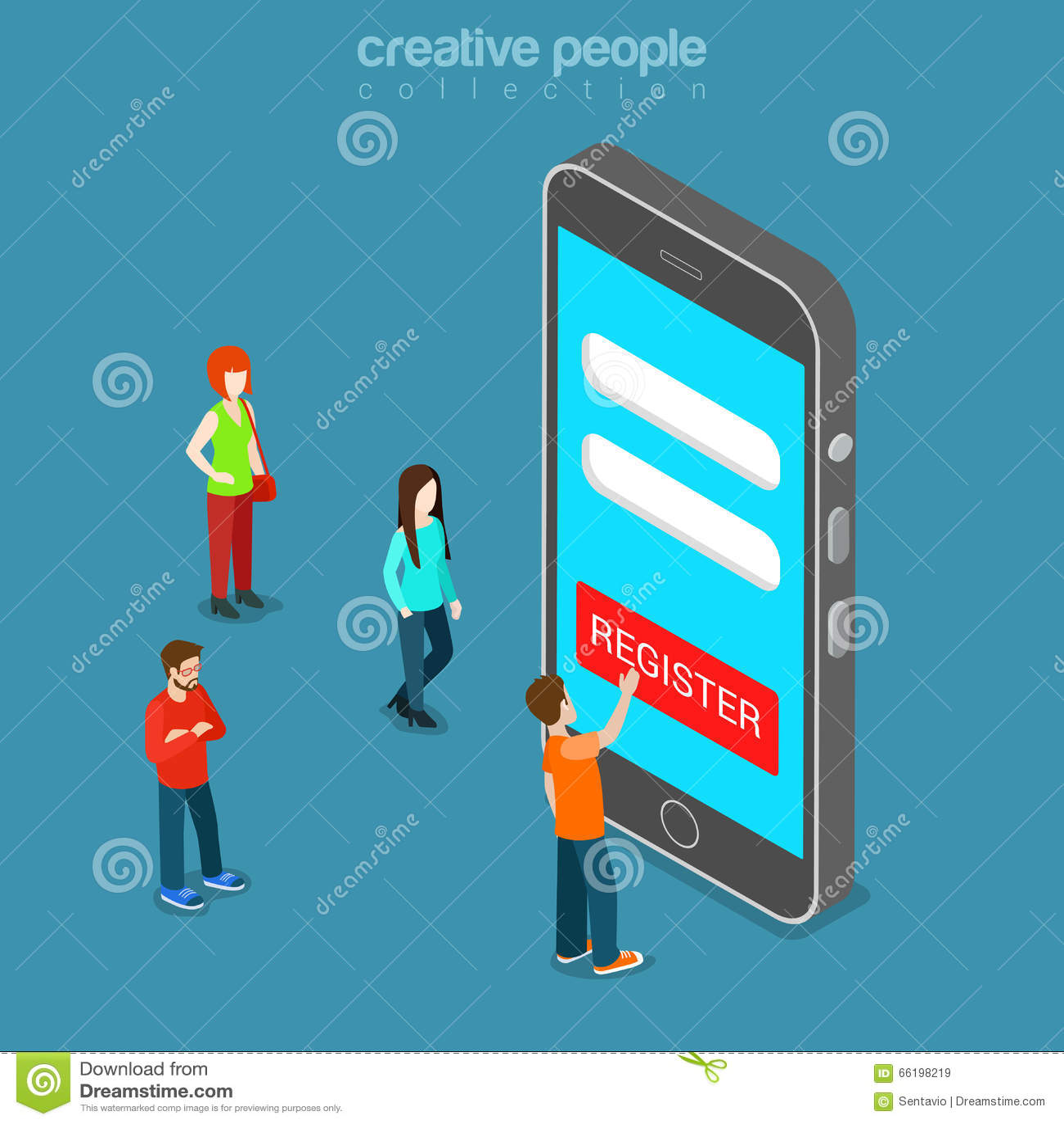Mobile Registration App Login Password Flat Isometric Vector 3d