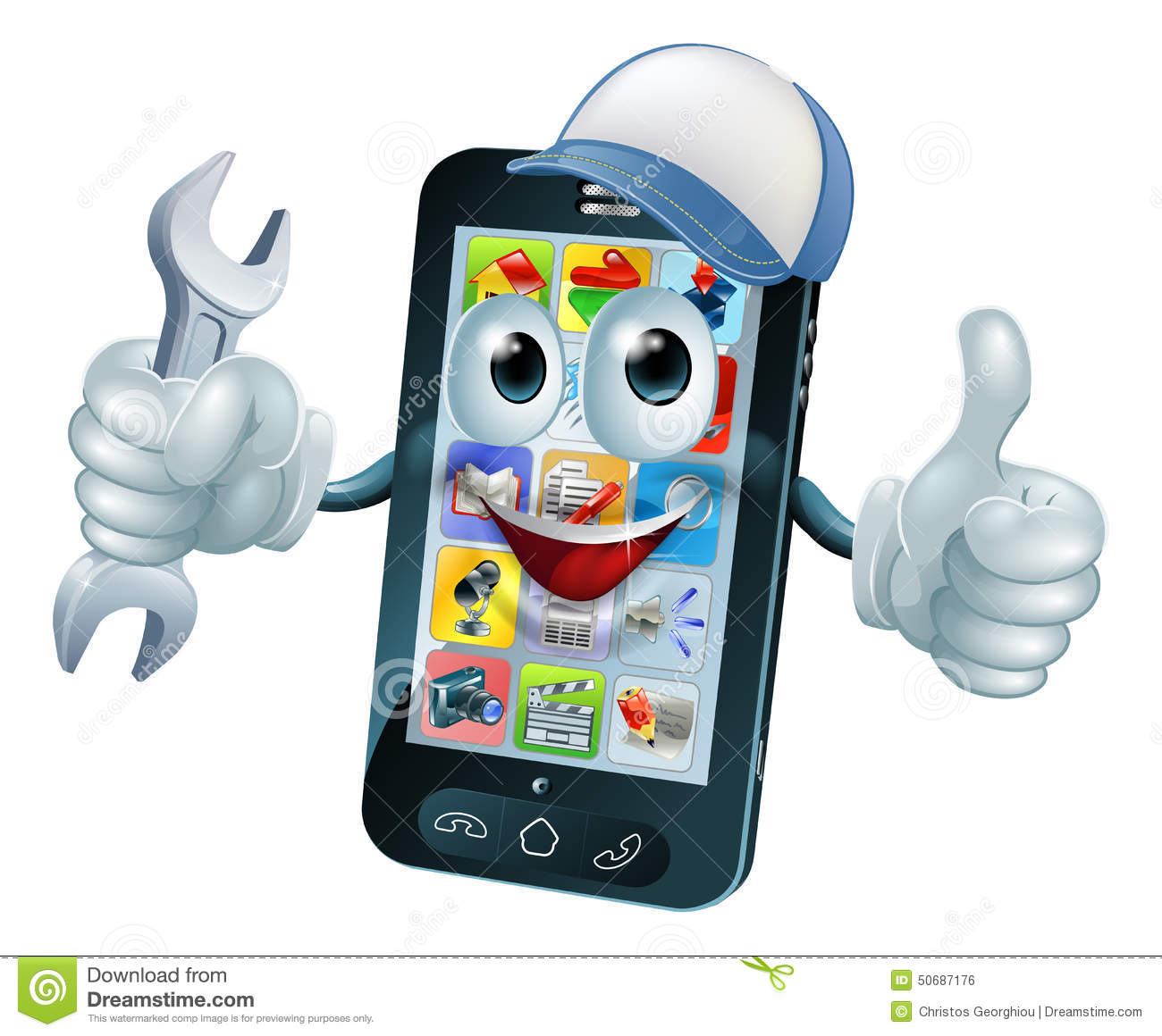 mobile repair mascot stock vector image 50687176 No Cell Phone Clip Art Man On Cell Phone Clip Art
