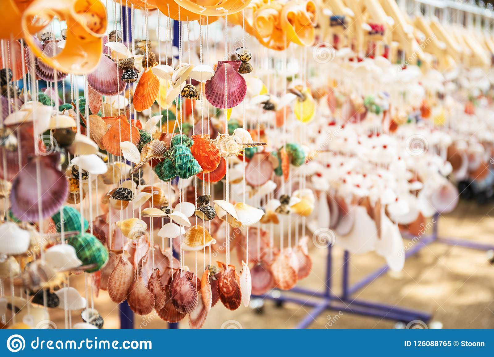 Mobile Sea Shells Hanging In The Shop For Sale Stock Image Image