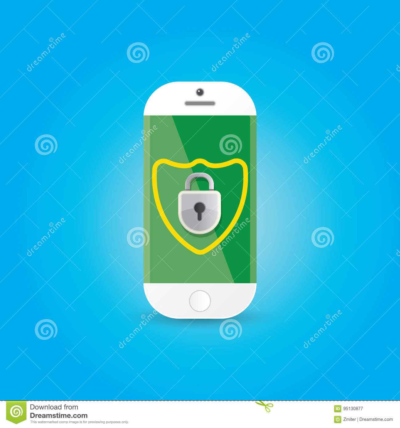 Mobile Security App Screen With Shield And Lock Stock Vector
