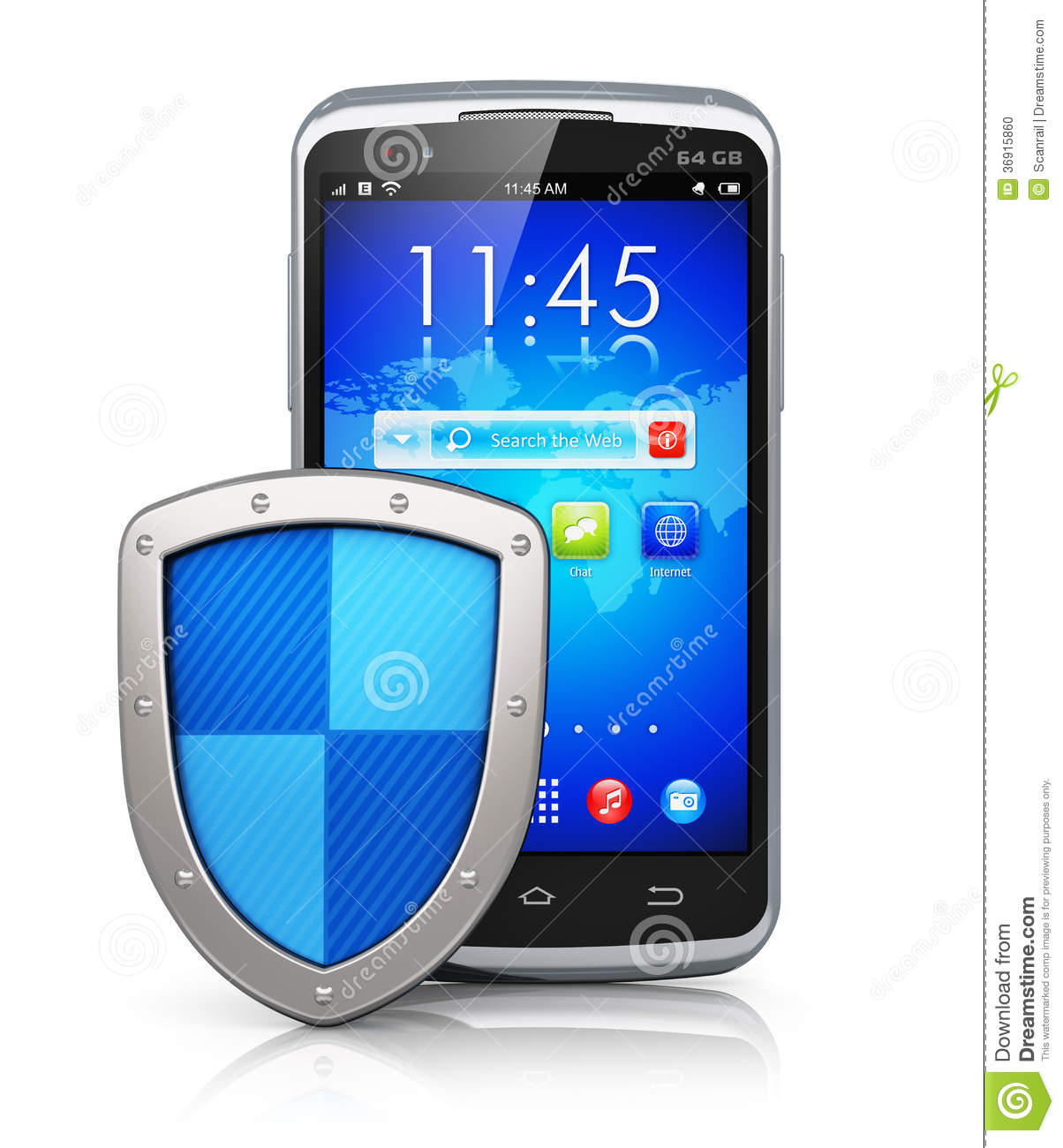 Concept Smartphone Protection On White Background Royalty ...