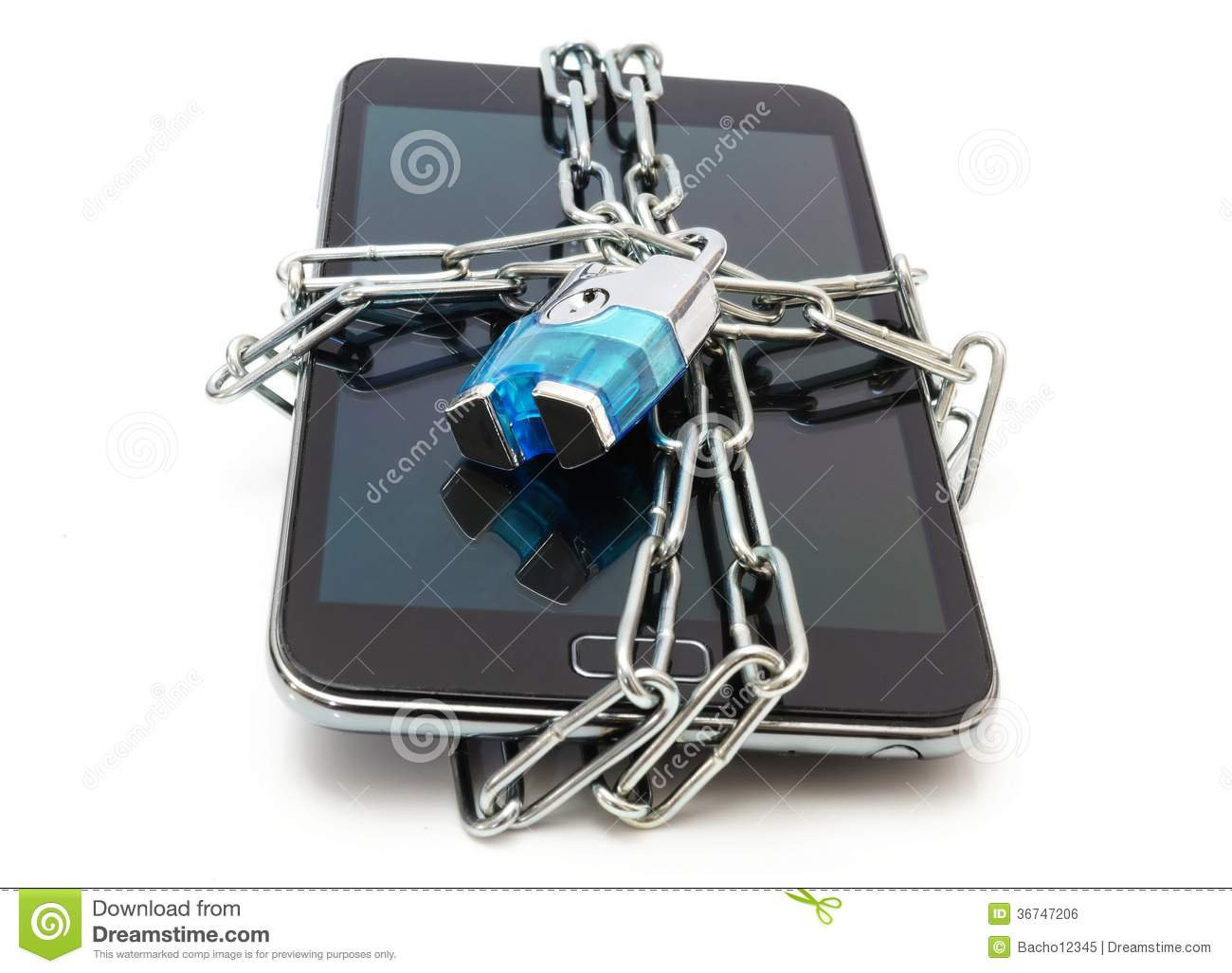 Mobile security with mobile phone and lock stock photo for Mobel lossek