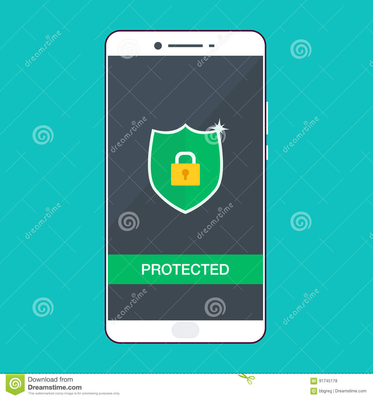 Mobile Security Protection Vector Illustration, Security ...
