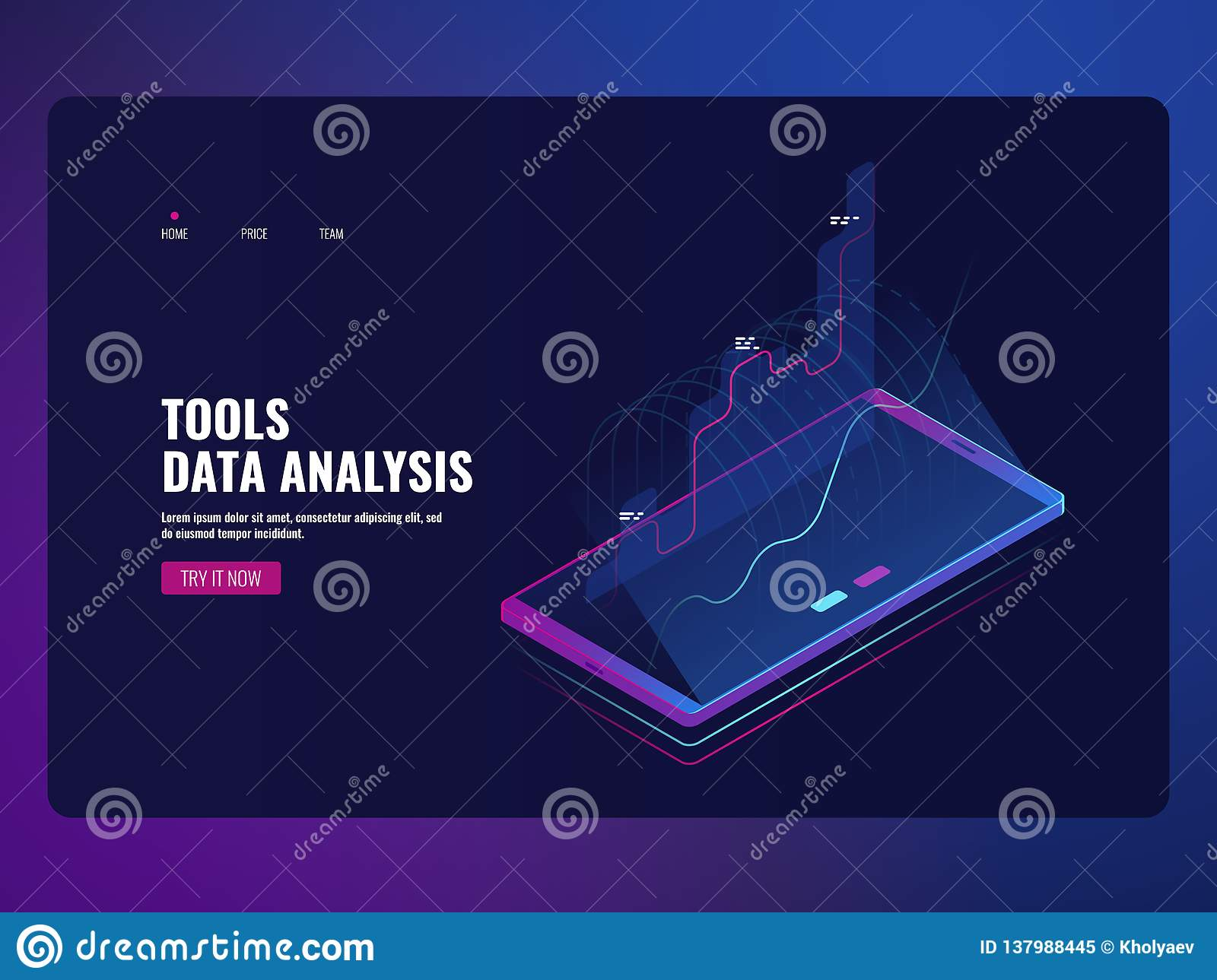 Mobile service data analysis and information statistic, financial report, online bank icon isometric vector illustration