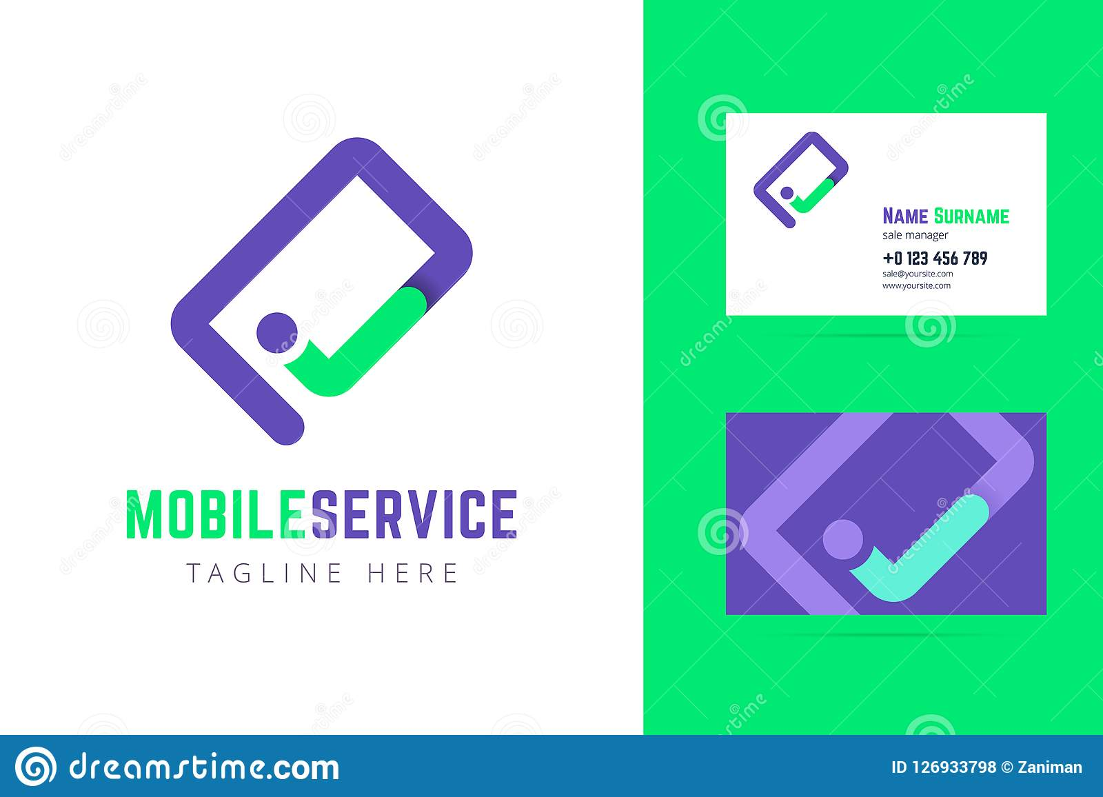 Mobile Service Logo And Business Card Template