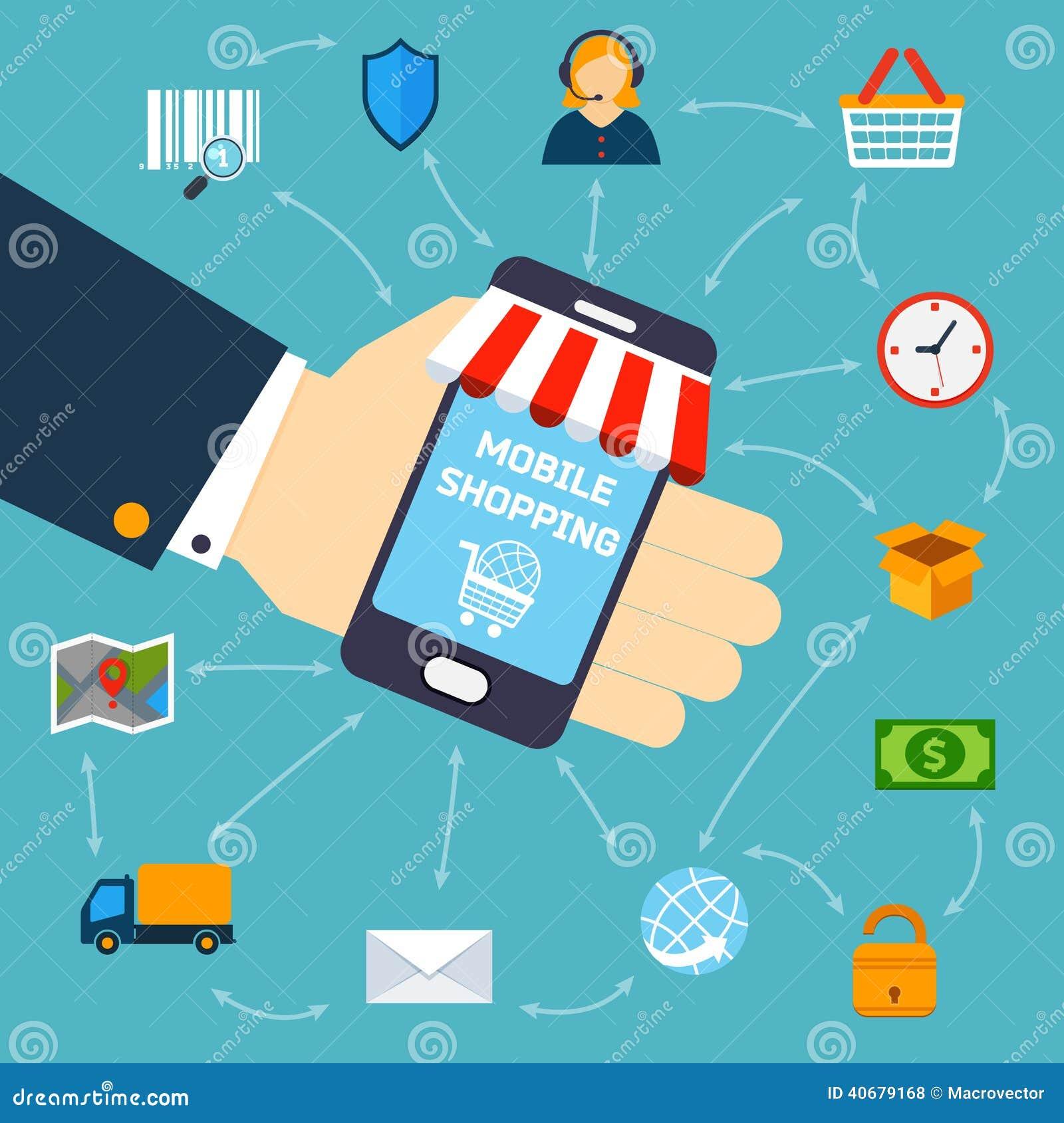 Mobile shopping concept stock vector image 40679168 for Shopping mobili online