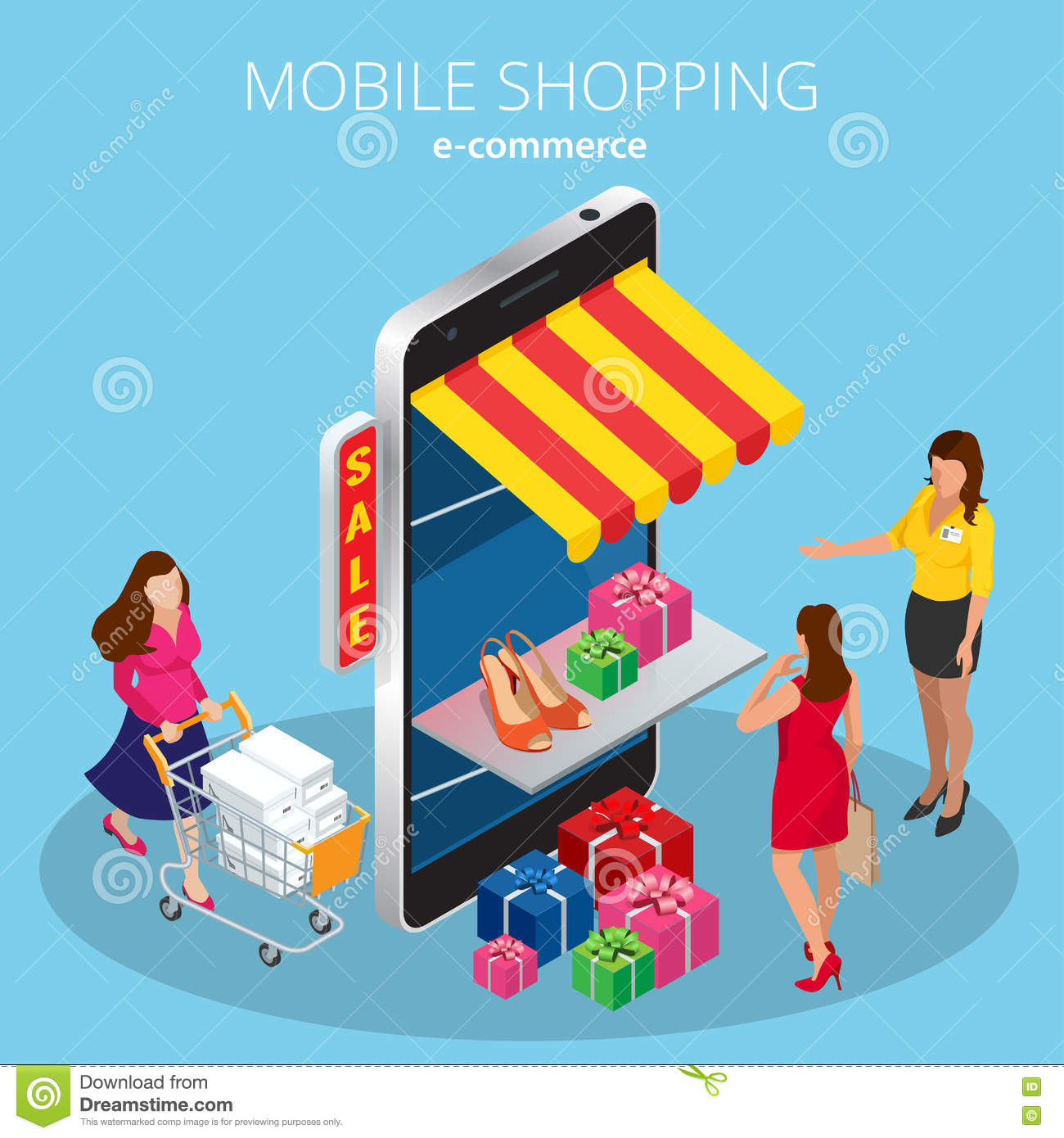 Mobile shopping e commerce online store flat 3d isometric for E commerce mobili