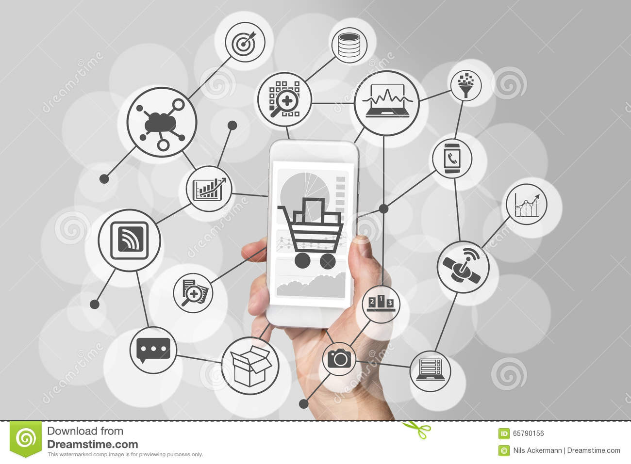 Mobile shopping experience with hand holding smartphone to for How to buy goods online