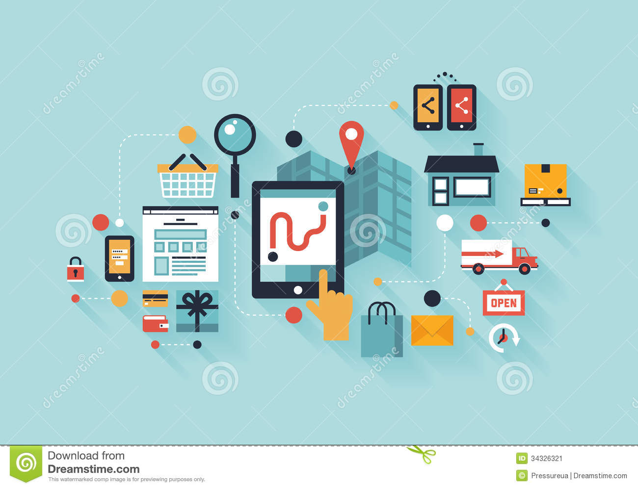 Mobile shopping illustration concept stock vector for Product service design