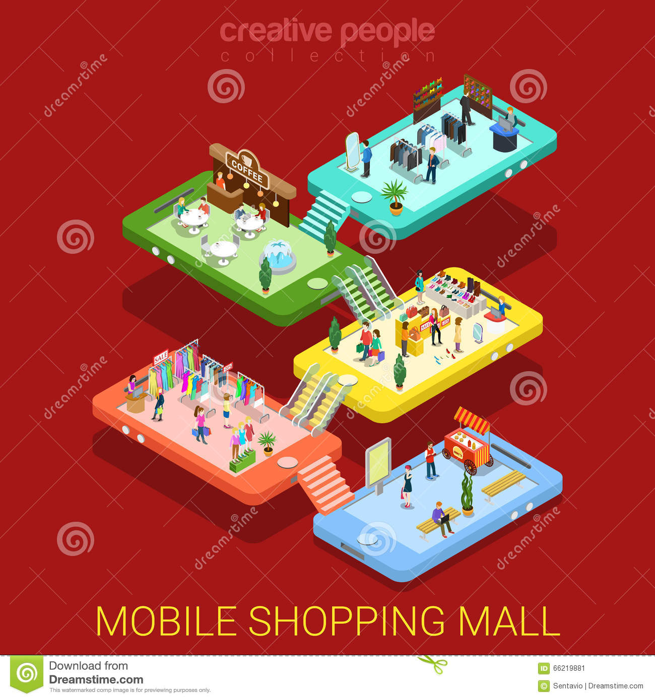 Mobile shopping mall interior sale store flat isometric for Shopping online mobili