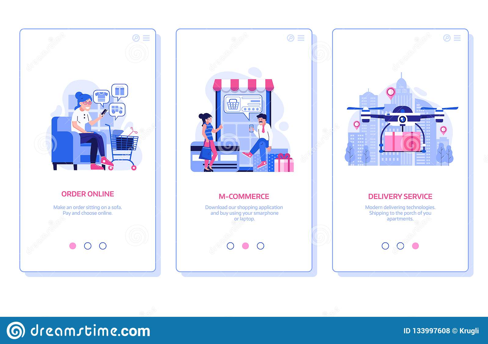 Mobile Shopping Onboarding Screens
