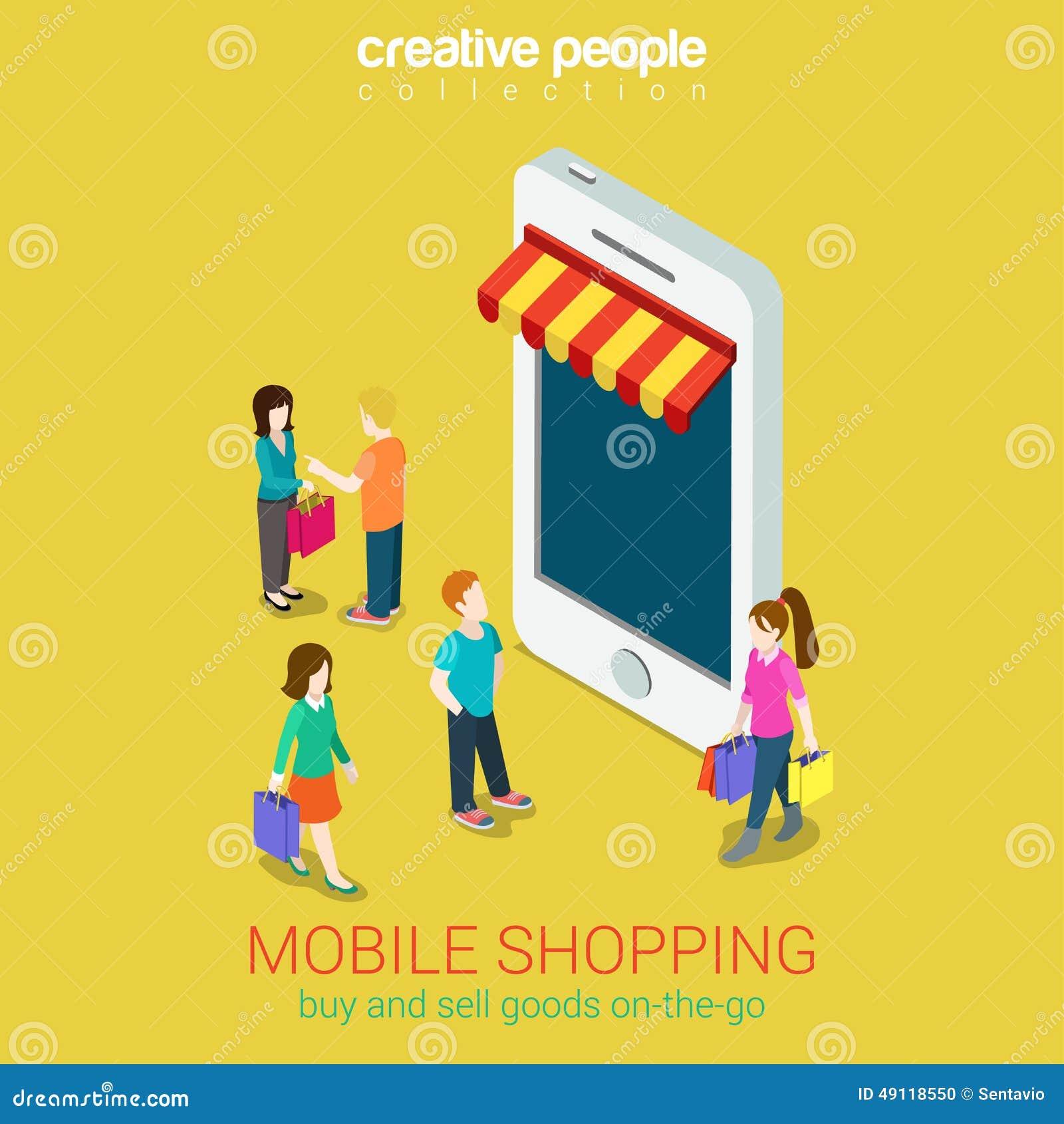 Mobile shopping online store e commerce 3d web isometric for Shopping online mobili