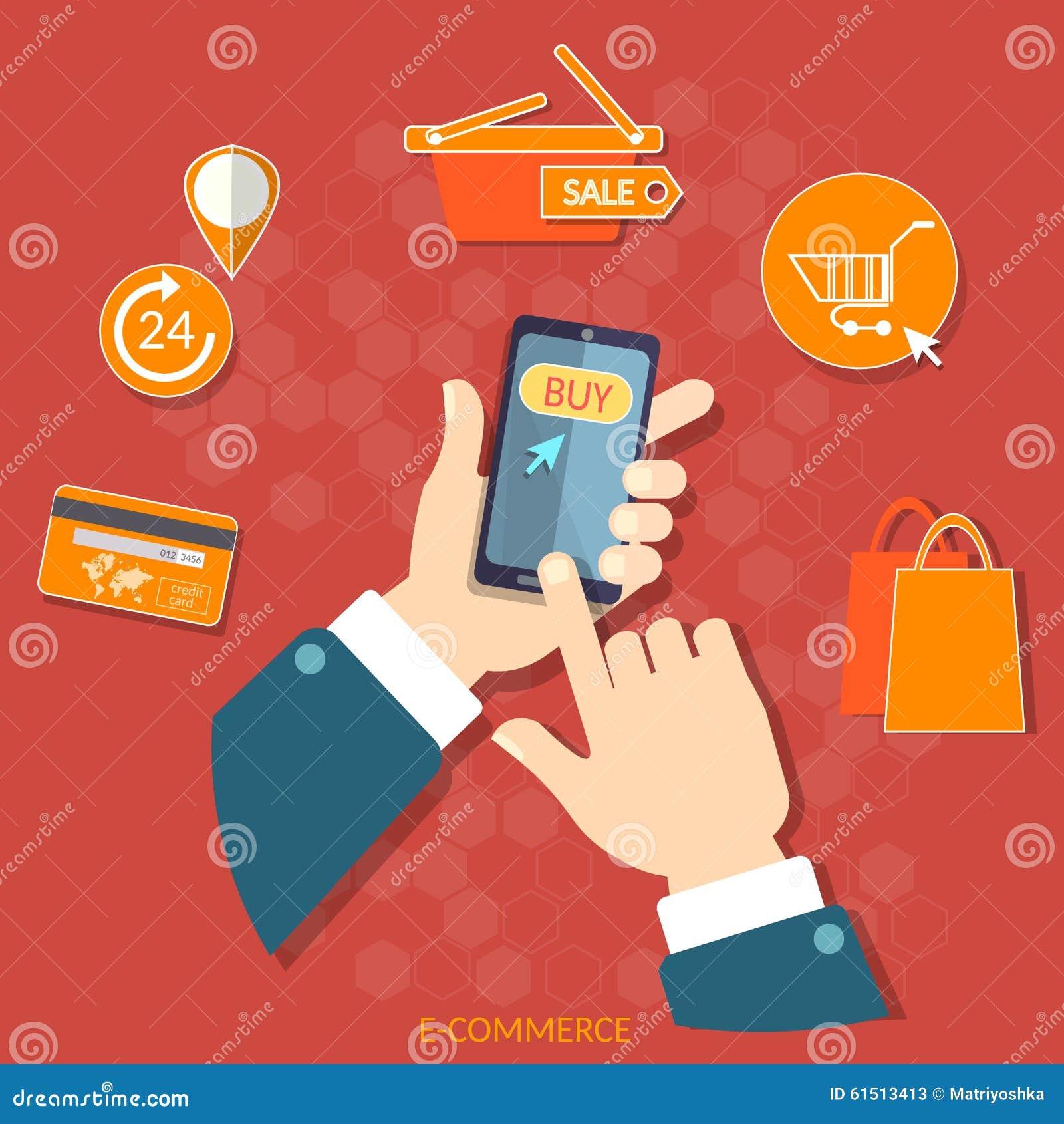 Mobile shopping smart phone e commerce vector concept for E commerce mobili