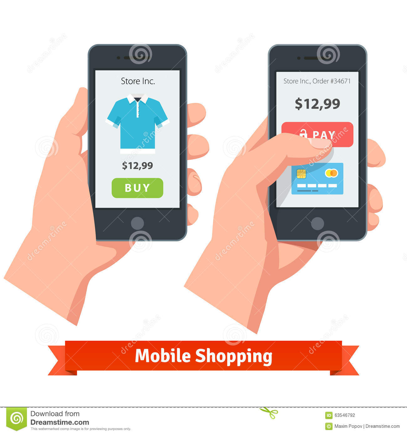 Mobile smartphone ecommerce online shopping stock vector for Shop on line mobili