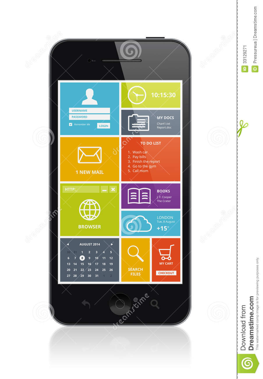 Mobile smartphone with modern ui stock image image 33129271 for Mobel stylisch