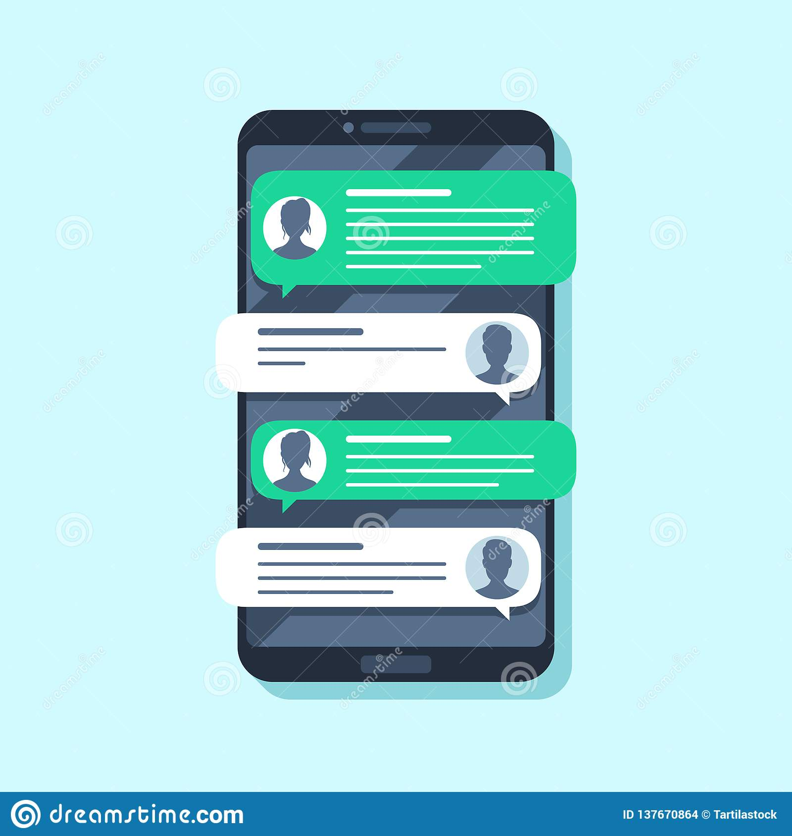 Mobile sms notifications. Hand texting message on smartphone, people chatting. Conversion flat vector illustration