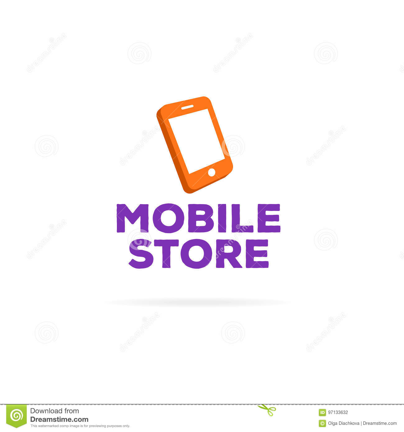 Mobile Store Logo Template With Orange Phone Stock Illustration