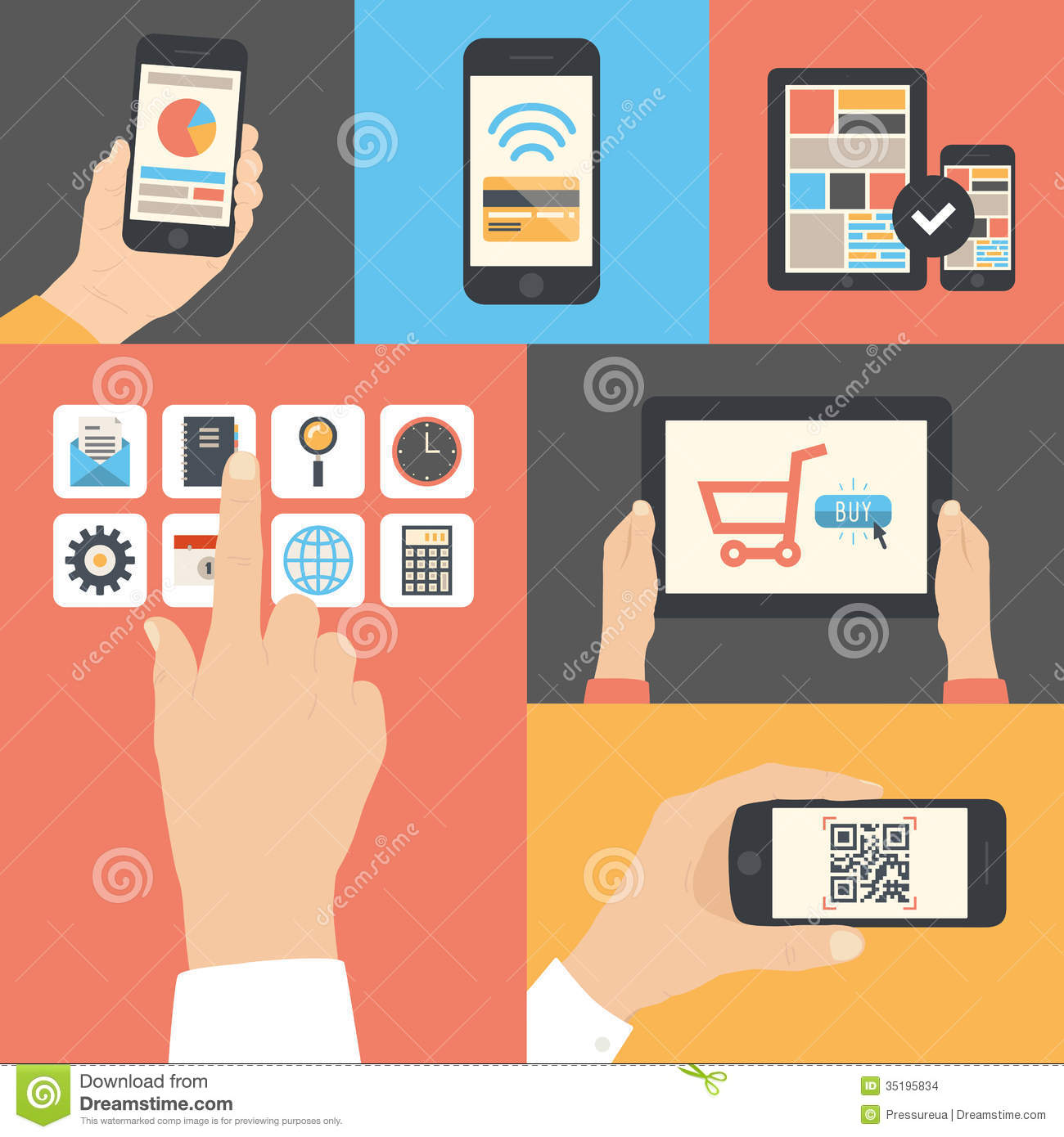 Mobile and tablet business communication usage stock for Mobel design