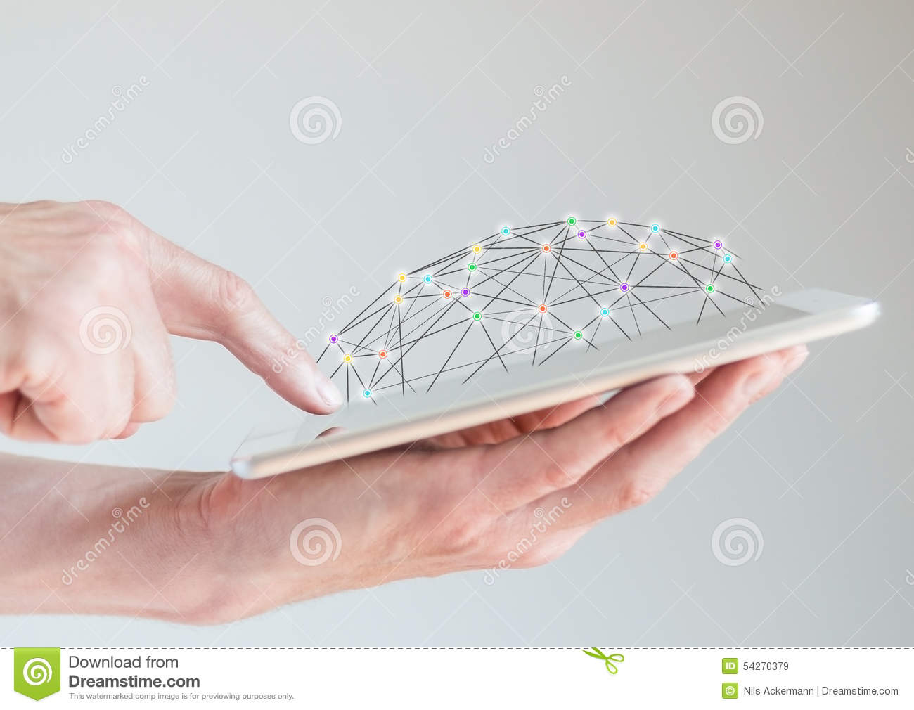 Mobile tablet in male hands with finger pointing at display. Concept of computer networks and social network