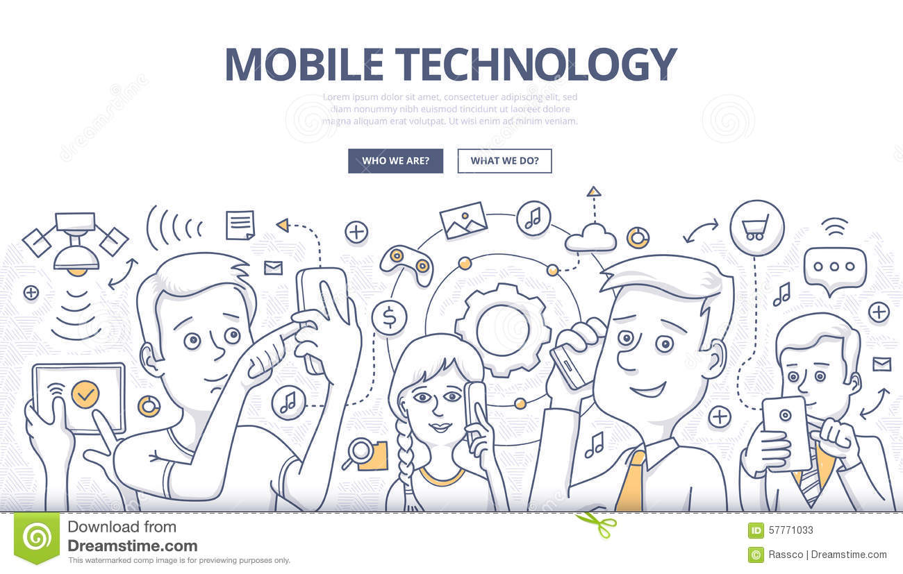 mobile technology doodle concept stock vector