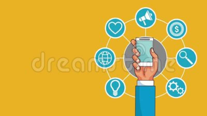 Mobile Technology And Social Networks Hd Animation Stock Video