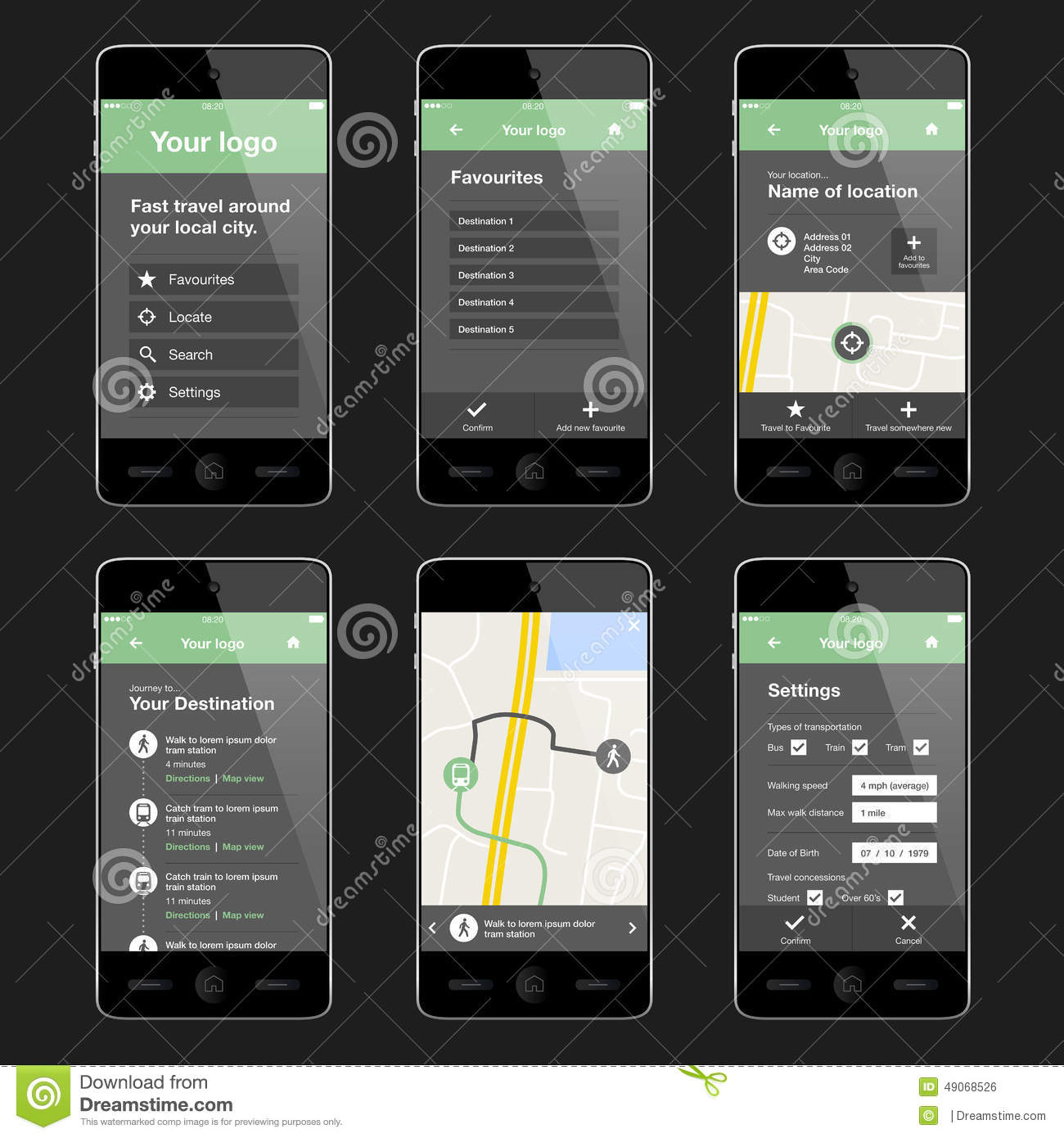 Mobile travel app design layout stock vector image 49068526 Architecture designing app