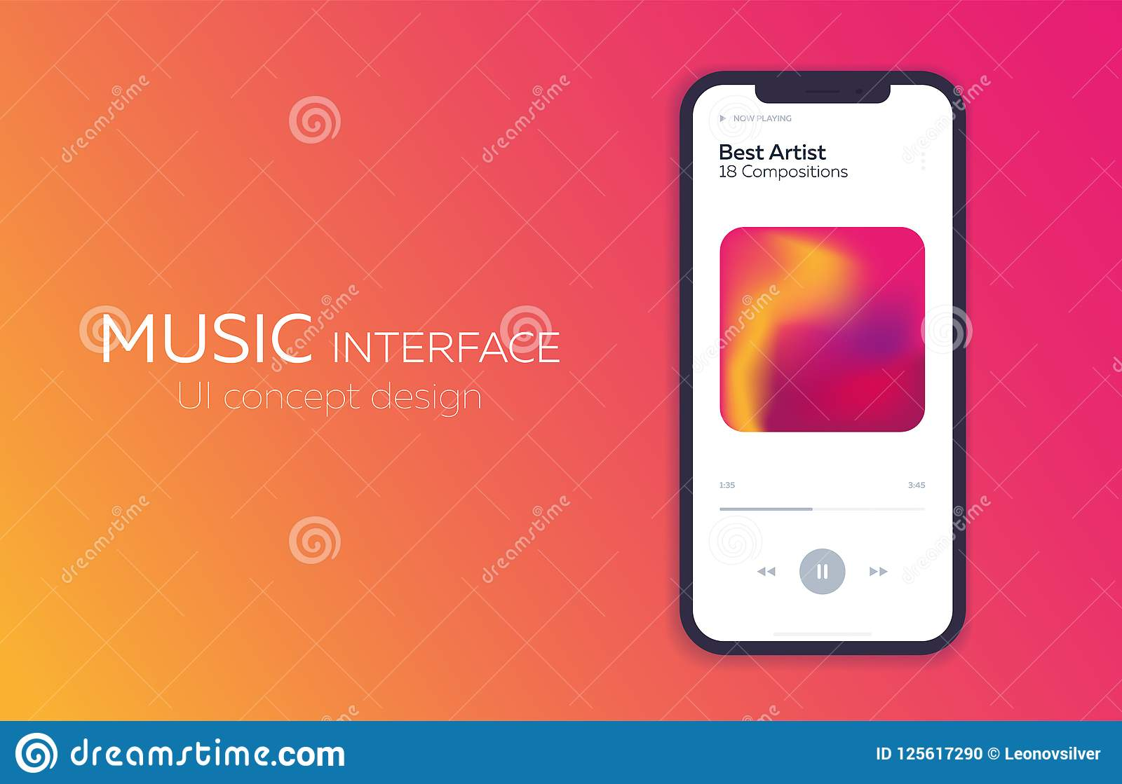 Mobile UI Design Concept  Music Player  Vector Illustration  Stock