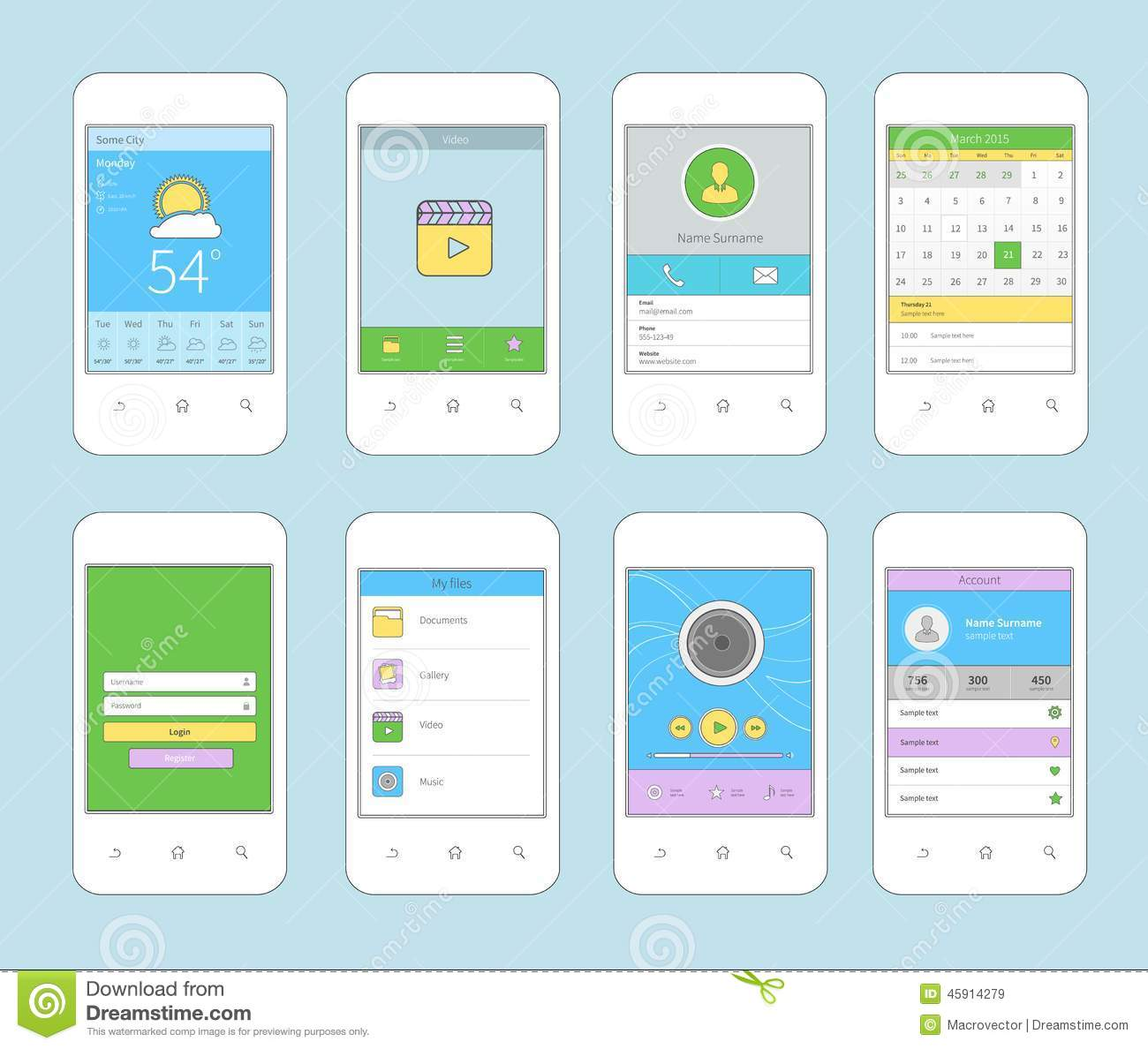 Mobile Ui Design Flat Line Stock Vector - Image: 45914279
