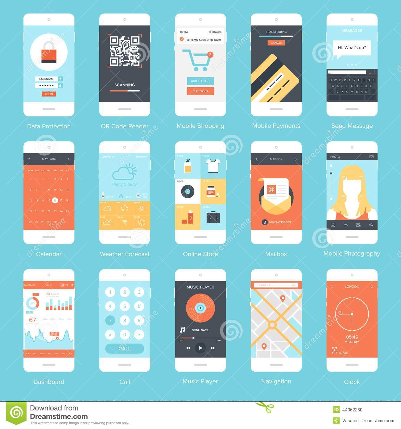 Mobile UI. Stock Vector - Image: 44362260