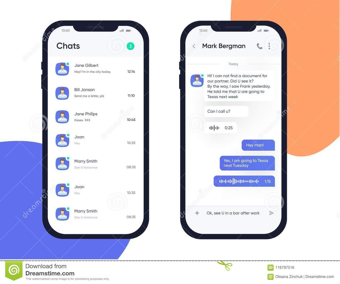 Mobile UI UX Design Concept  Trendy Chatbot Application With