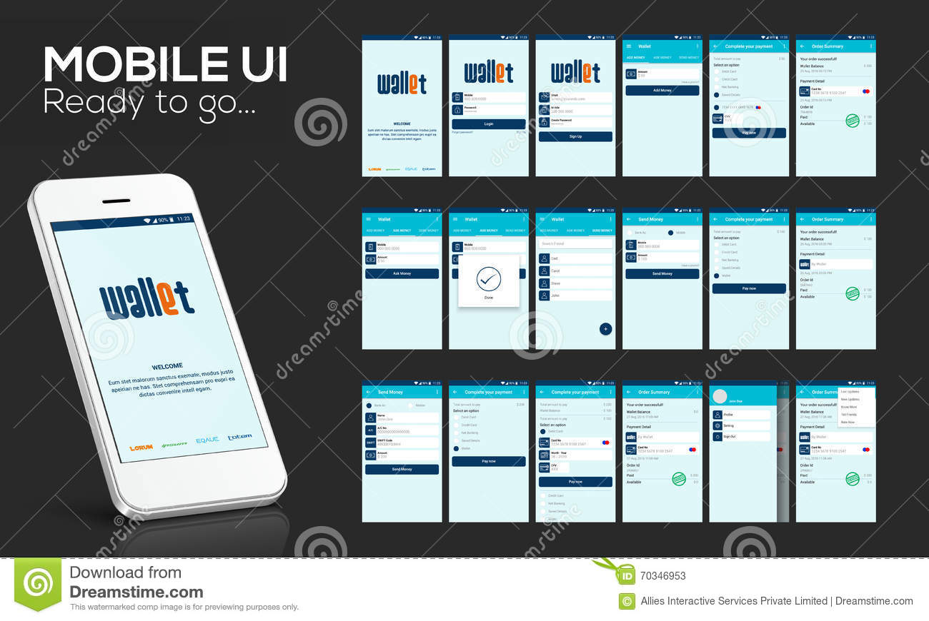 Mobile ui ux and gui for online money transfer stock for Mobile app privacy policy template