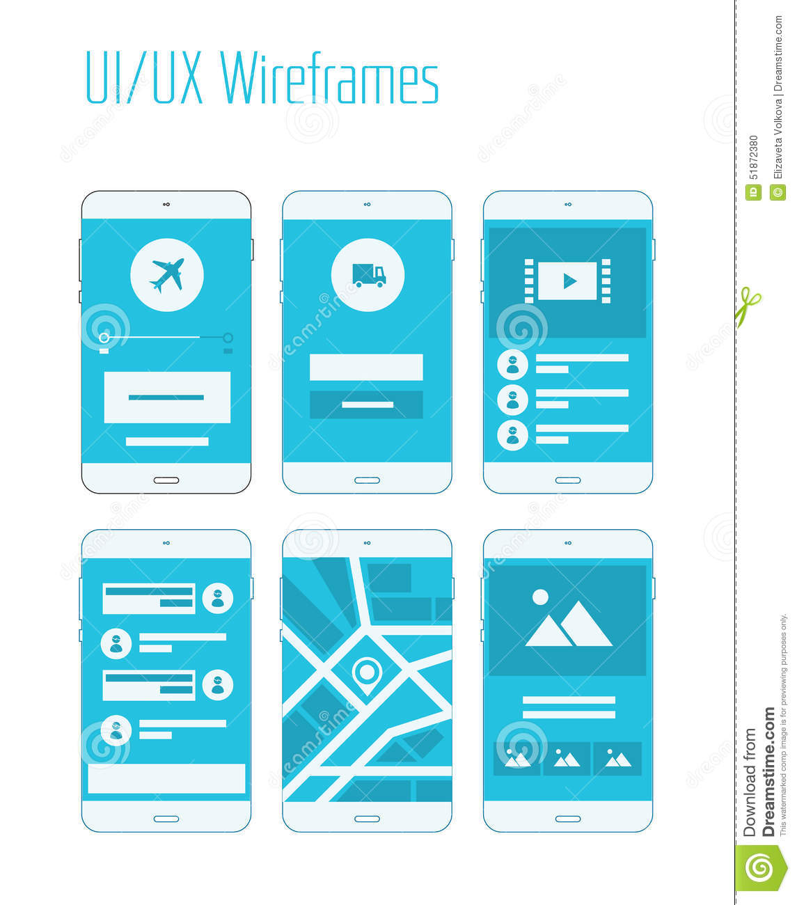 Sitemap Template: Mobile UI And UX Wireframes Kit Stock Vector
