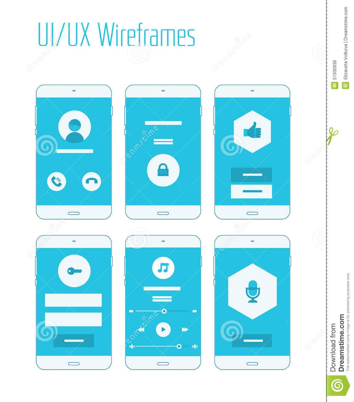 Sitemap Template: Mobile UI And UX Wireframes Kit Stock Illustration