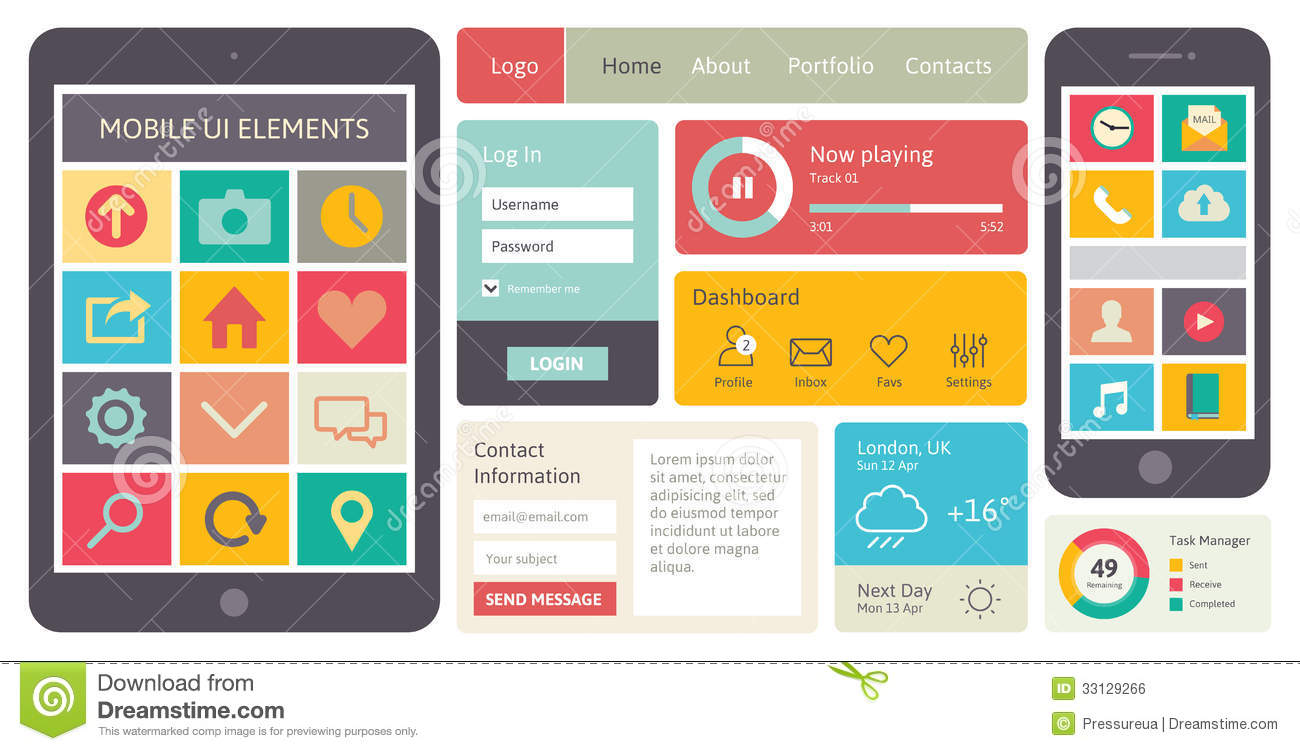 Mobile ui vector elements stock vector image of internet for Easy app design