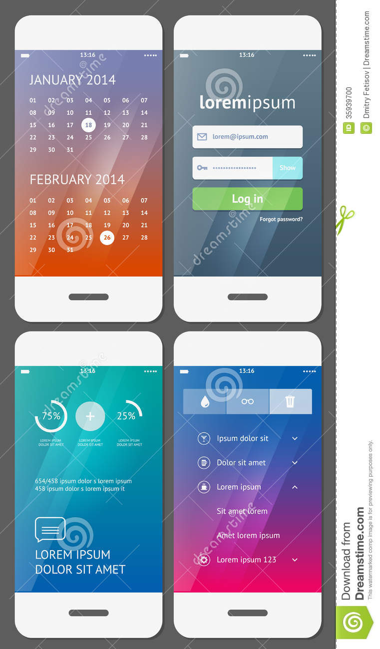 Mobile User Interface Template Stock Photo Image 35939700