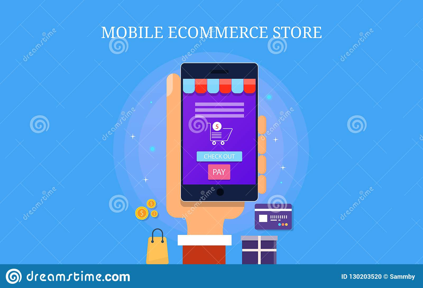 Mobile Ecommerce Store Mobile App For Ecommerce Website Digital Marketing Concept Flat Design Vector Banner Stock Vector Illustration Of Business Ecommerce 130203520
