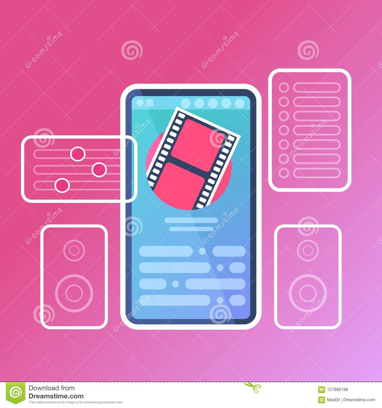 Mobile video player application interface digital media online concept for design work and animation flat