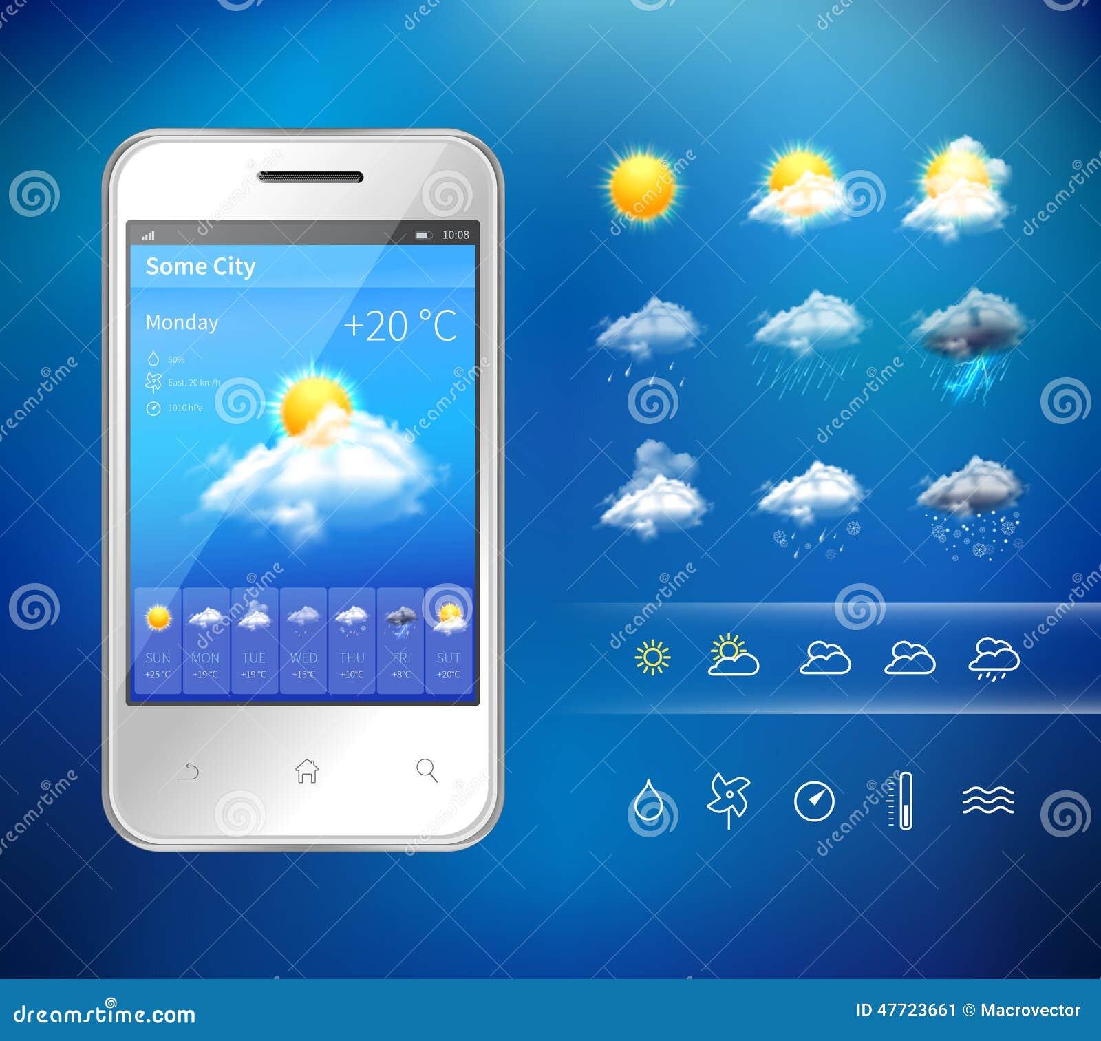 mobile weather application stock vector image 47723661. Black Bedroom Furniture Sets. Home Design Ideas