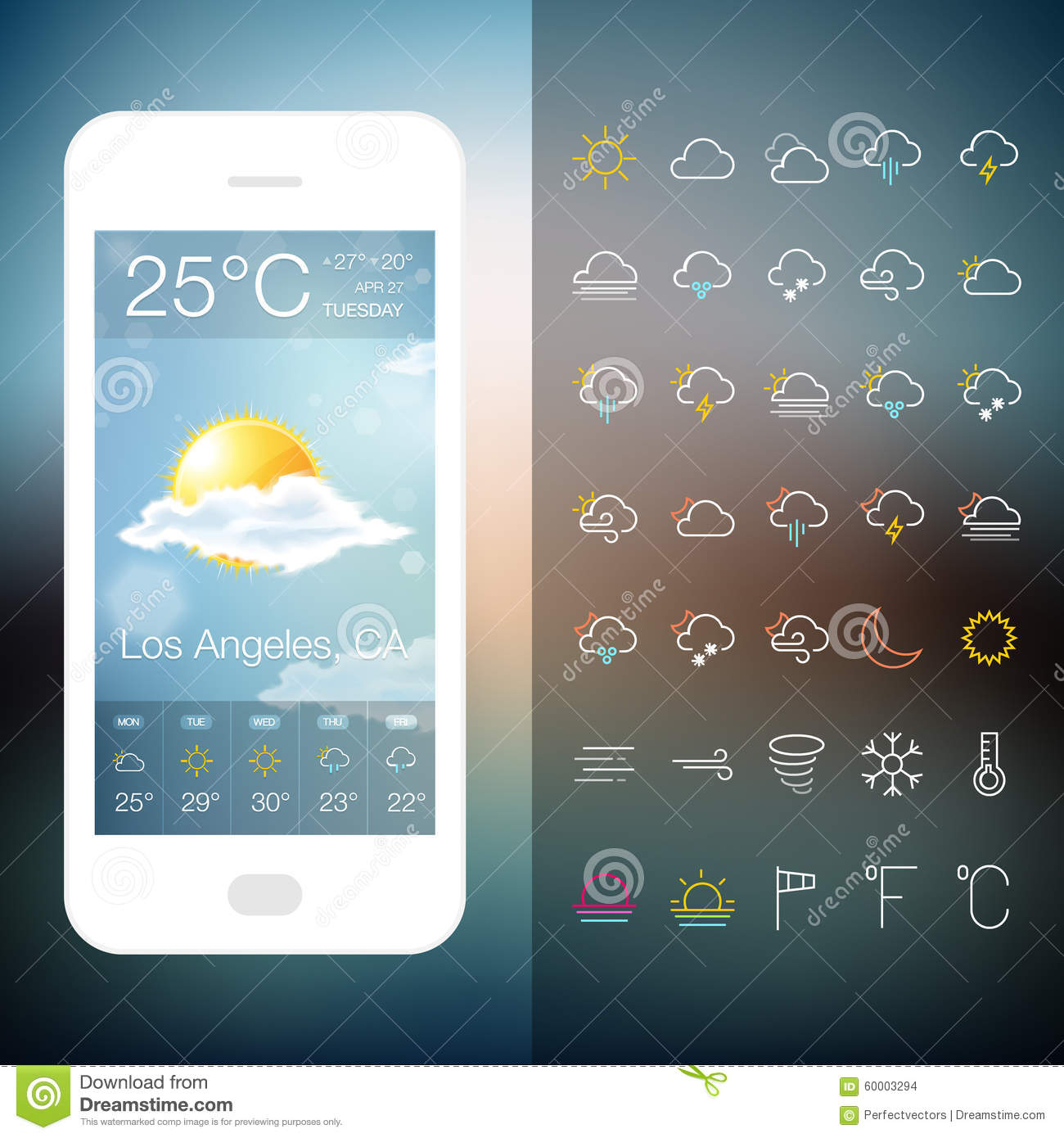 mobile weather application screen with icon set stock vector image 60003294. Black Bedroom Furniture Sets. Home Design Ideas