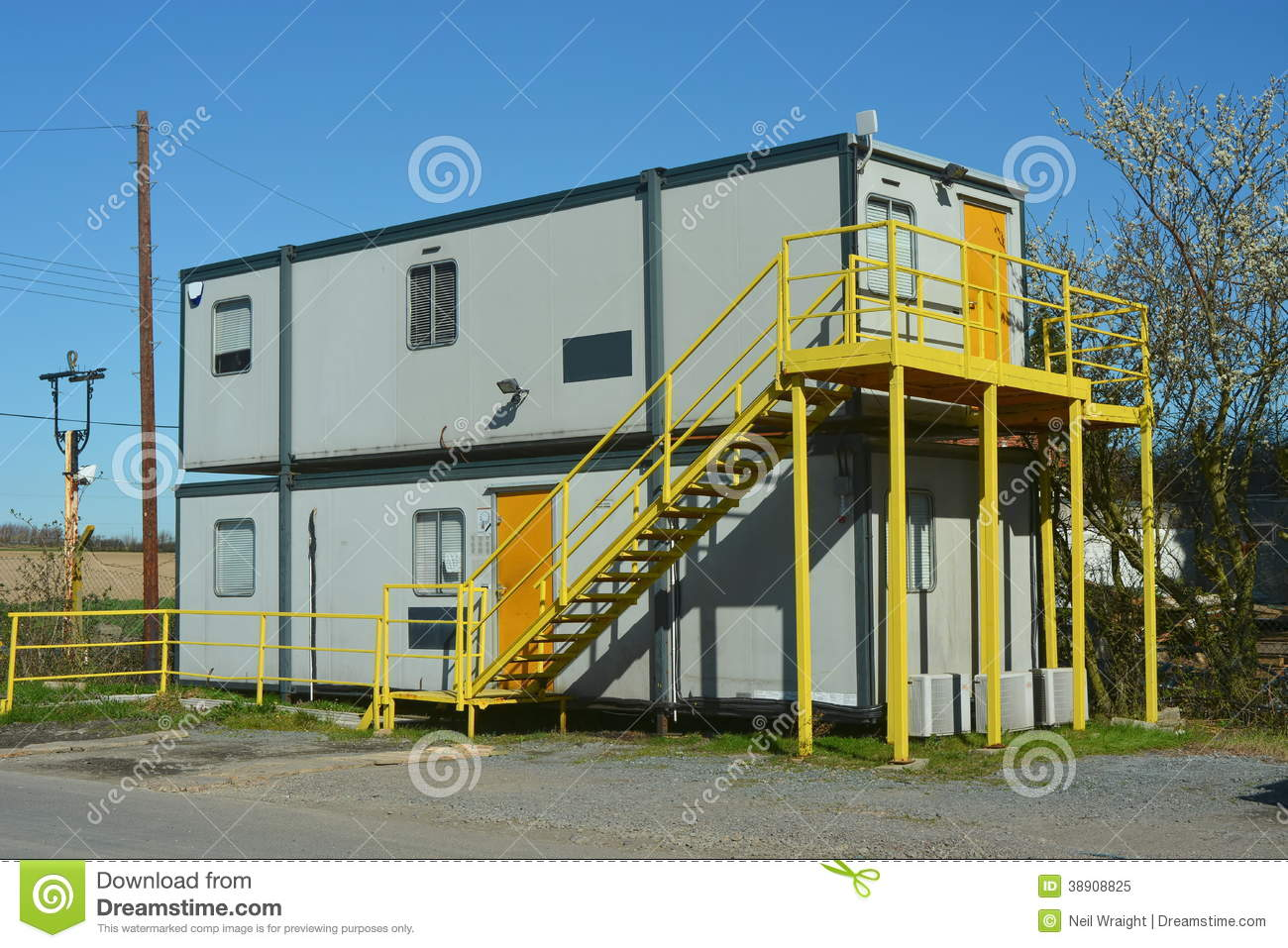 Cabins Plans Mobile Office Cabin Type Construction Stock Photo Image