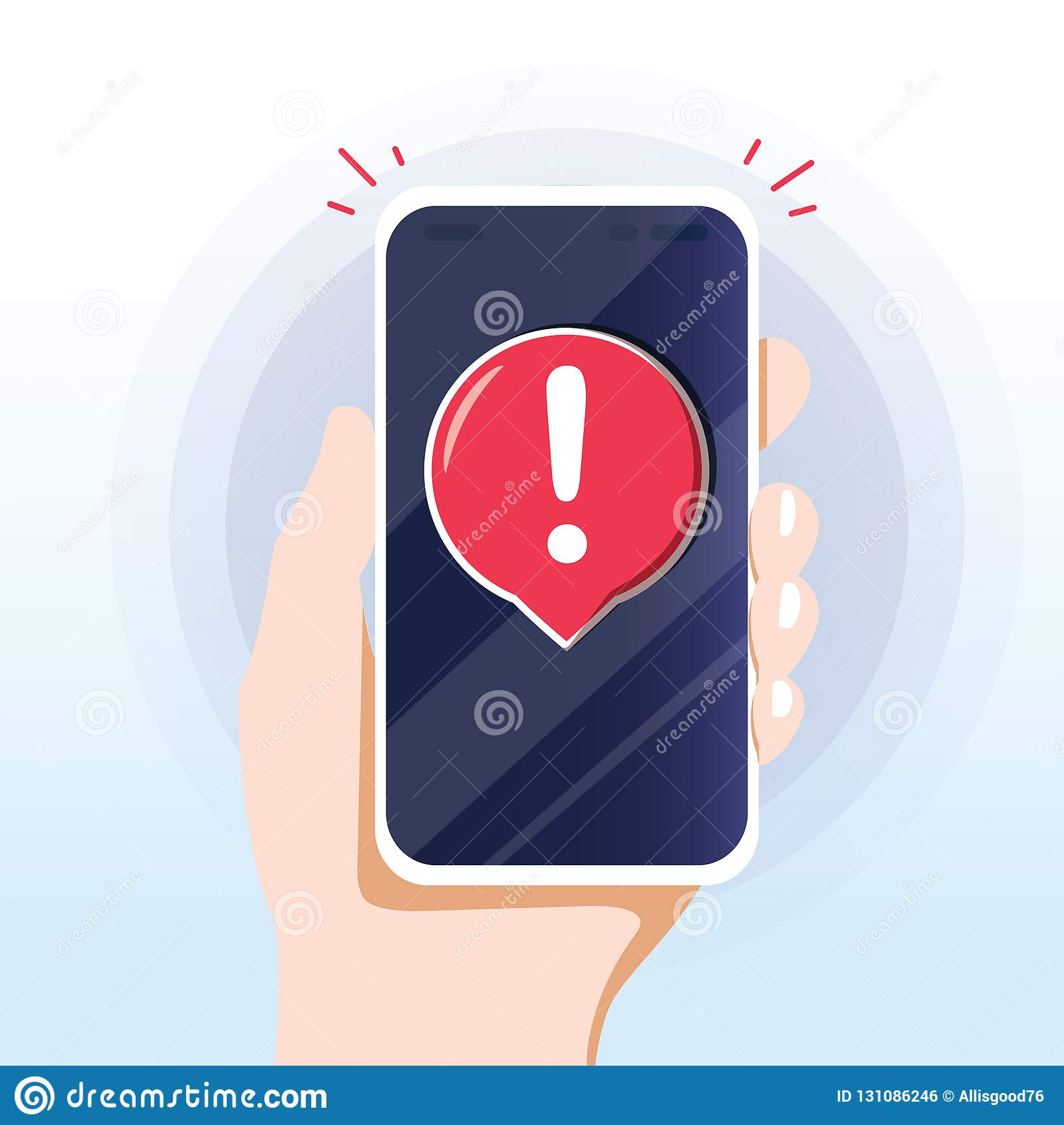 Mobilemitteilung der wachsamen Mitteilung Gefahrenfehleralarme, smartpho